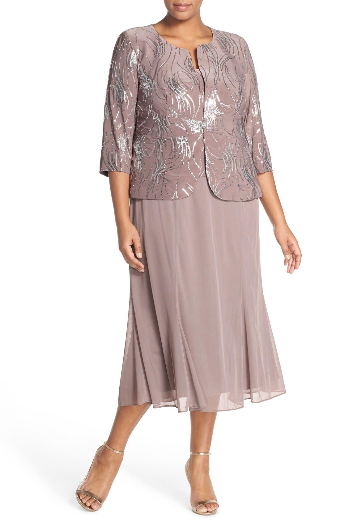 1930s Art Deco Plus Size Dresses | Tea Dresses, Party Dresses Plus Size Womens Alex Evenings Sequin Mock Two-Piece Dress With Jacket Size 14W - Metallic $209.00 AT vintagedancer.com