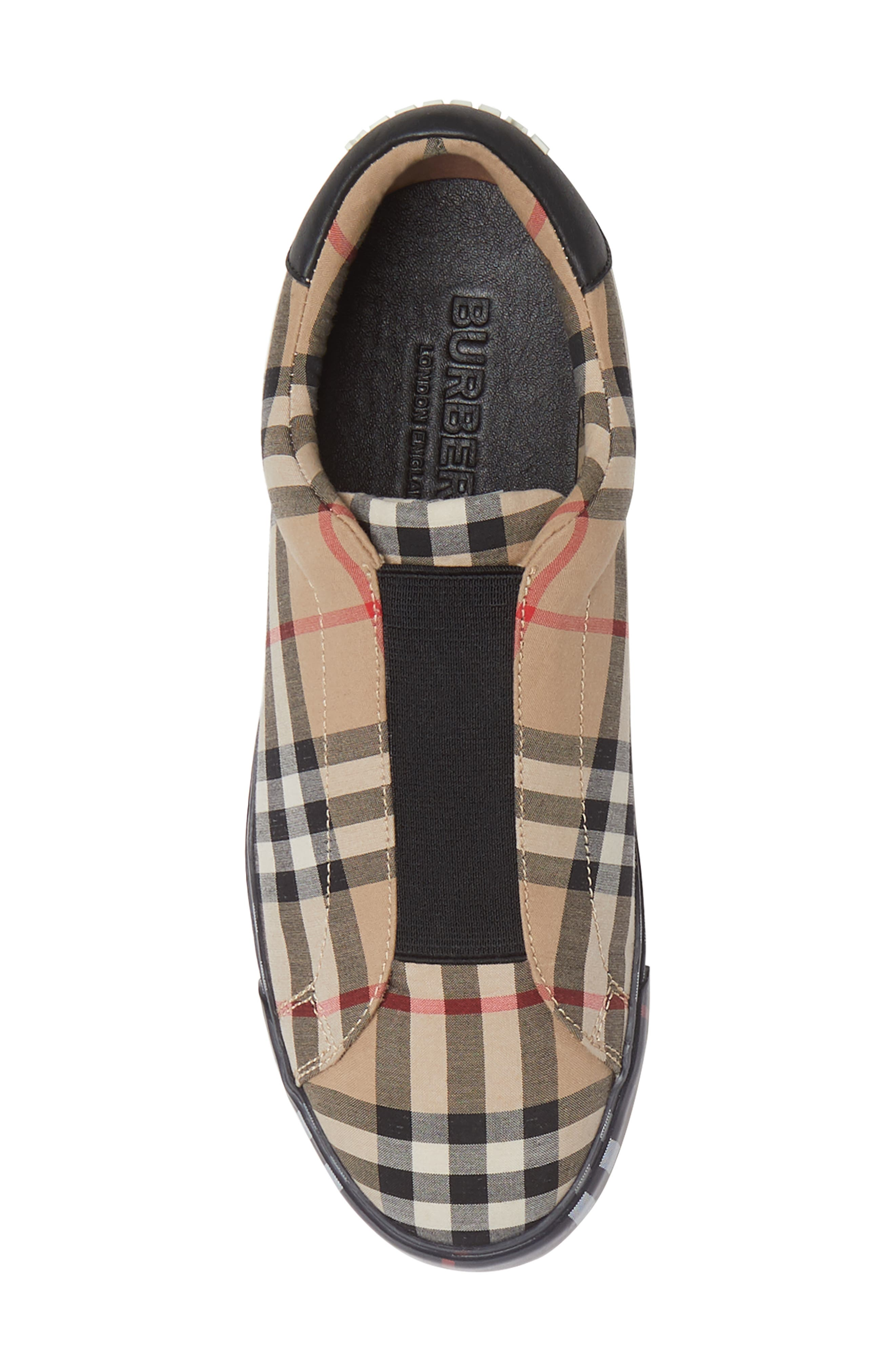 BURBERRY, Markham Vintage Check Slip-On Sneaker, Alternate thumbnail 5, color, BEIGE PLAID
