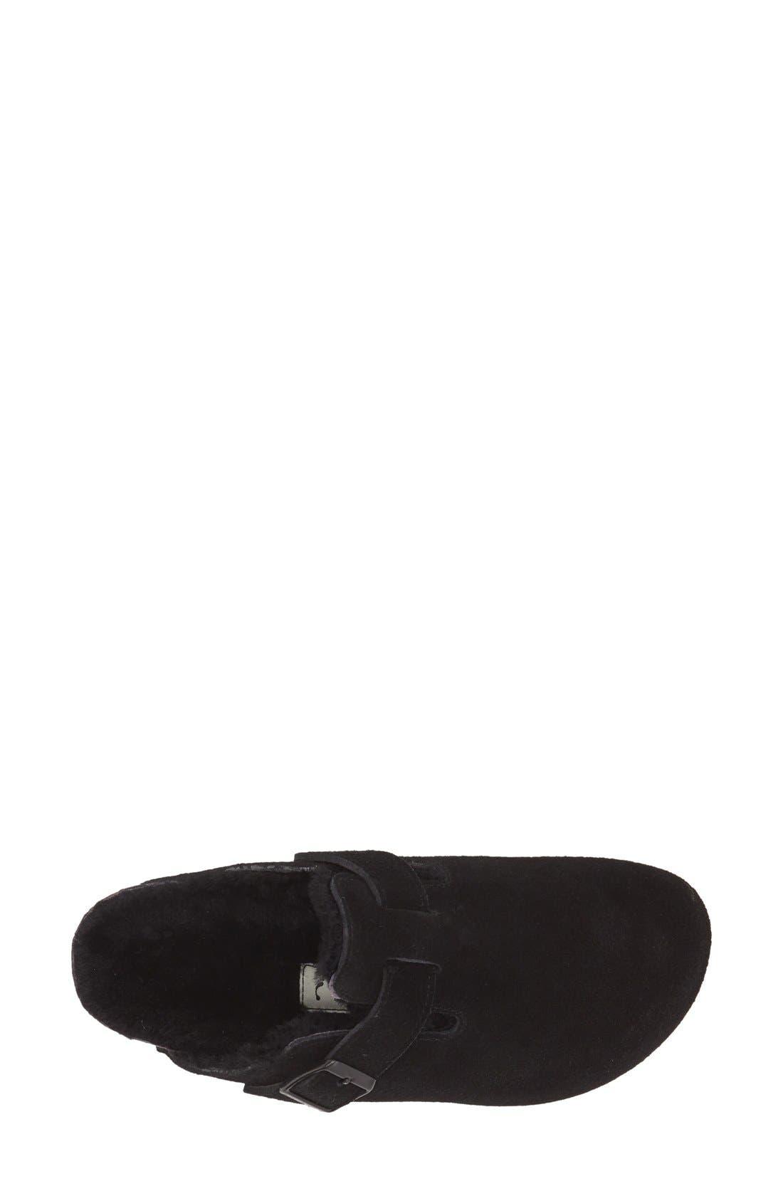 BIRKENSTOCK, 'Boston' Genuine Shearling Lined Clog, Alternate thumbnail 4, color, BLACK