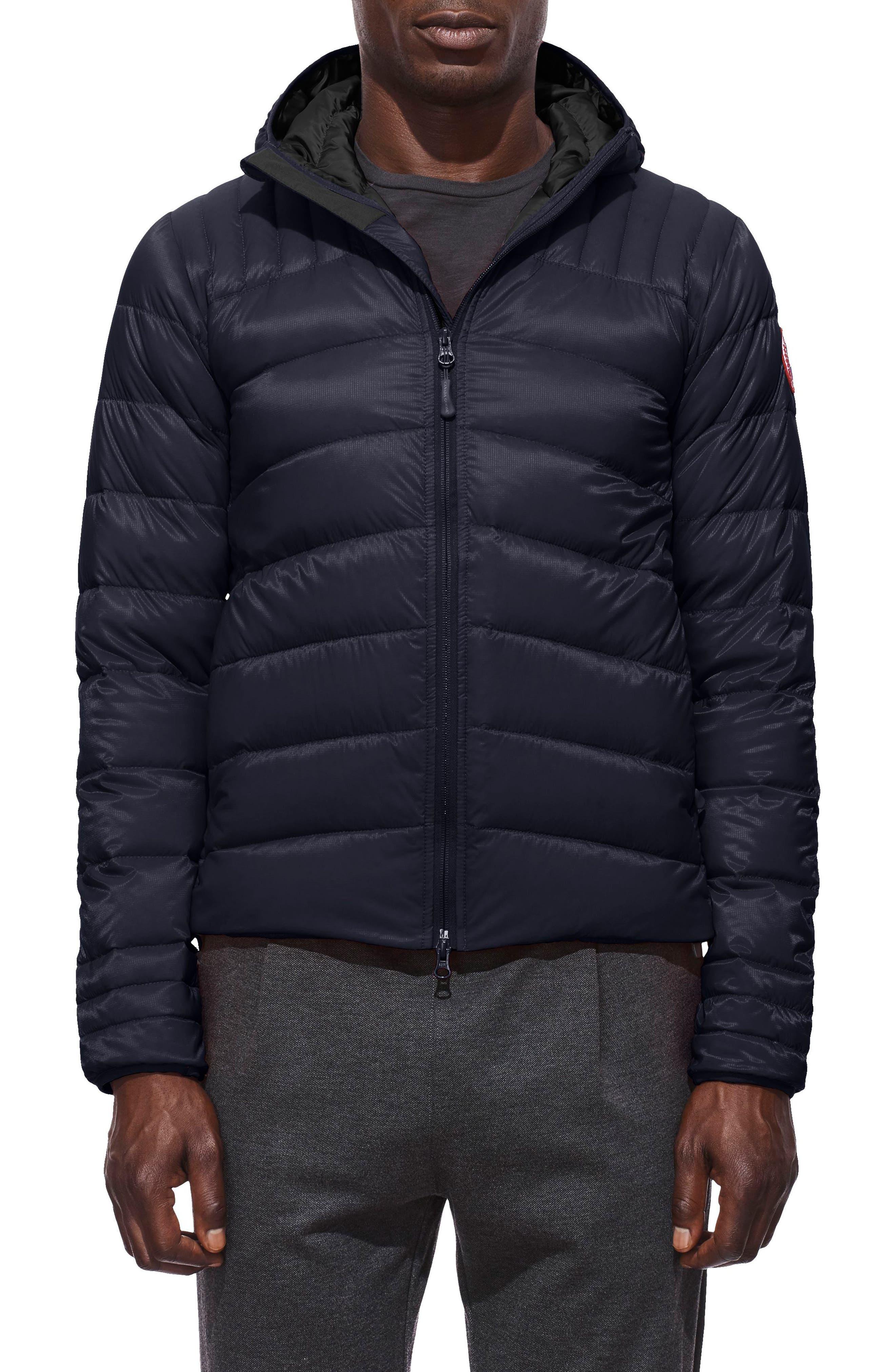 CANADA GOOSE, Brookvale Slim Fit Hooded Down Jacket, Main thumbnail 1, color, ADMIRAL BLUE/ BLACK