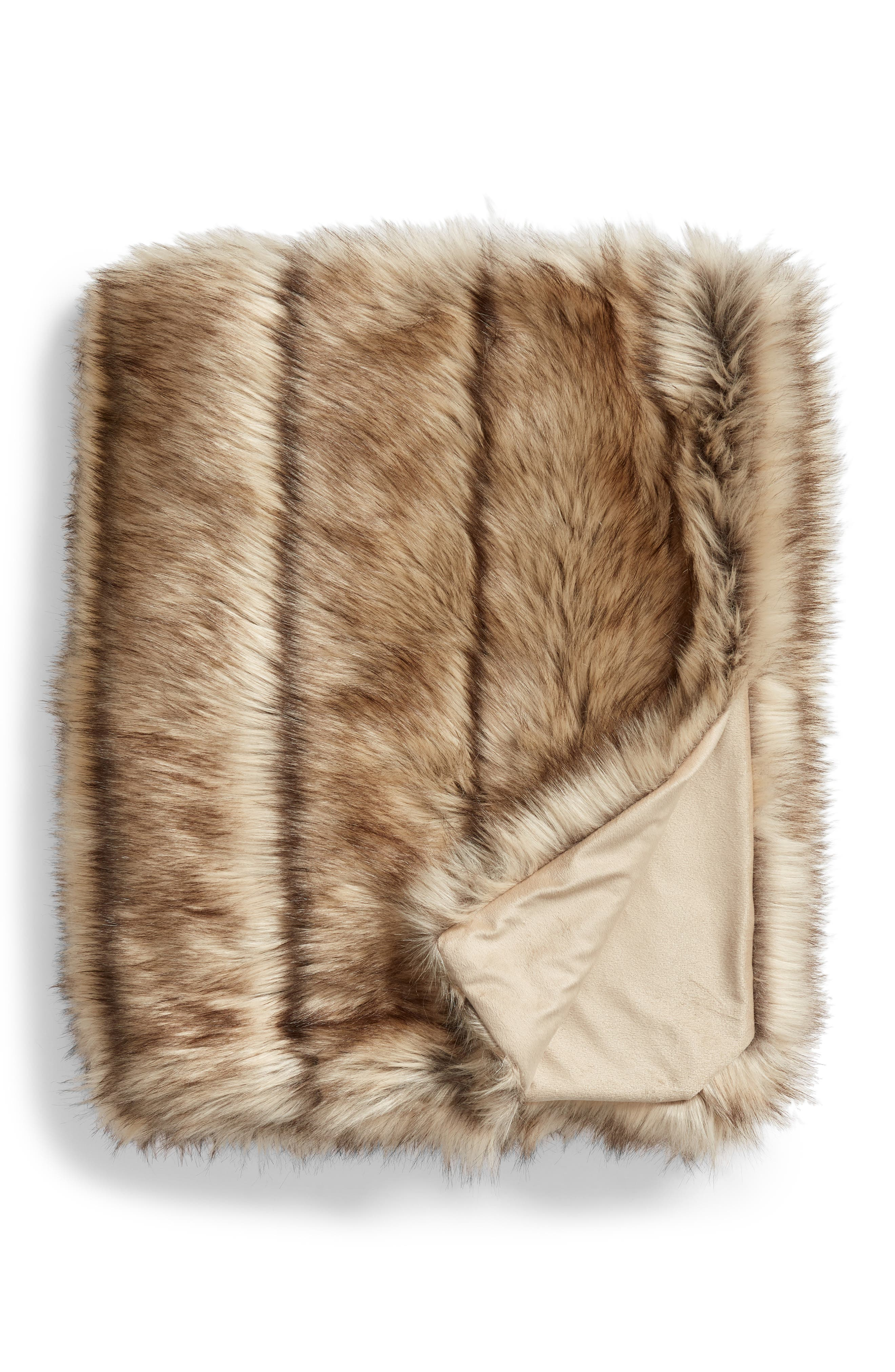 NORDSTROM AT HOME, Luxe Faux Fur Stripe Throw Blanket, Main thumbnail 1, color, NATURAL MULTI