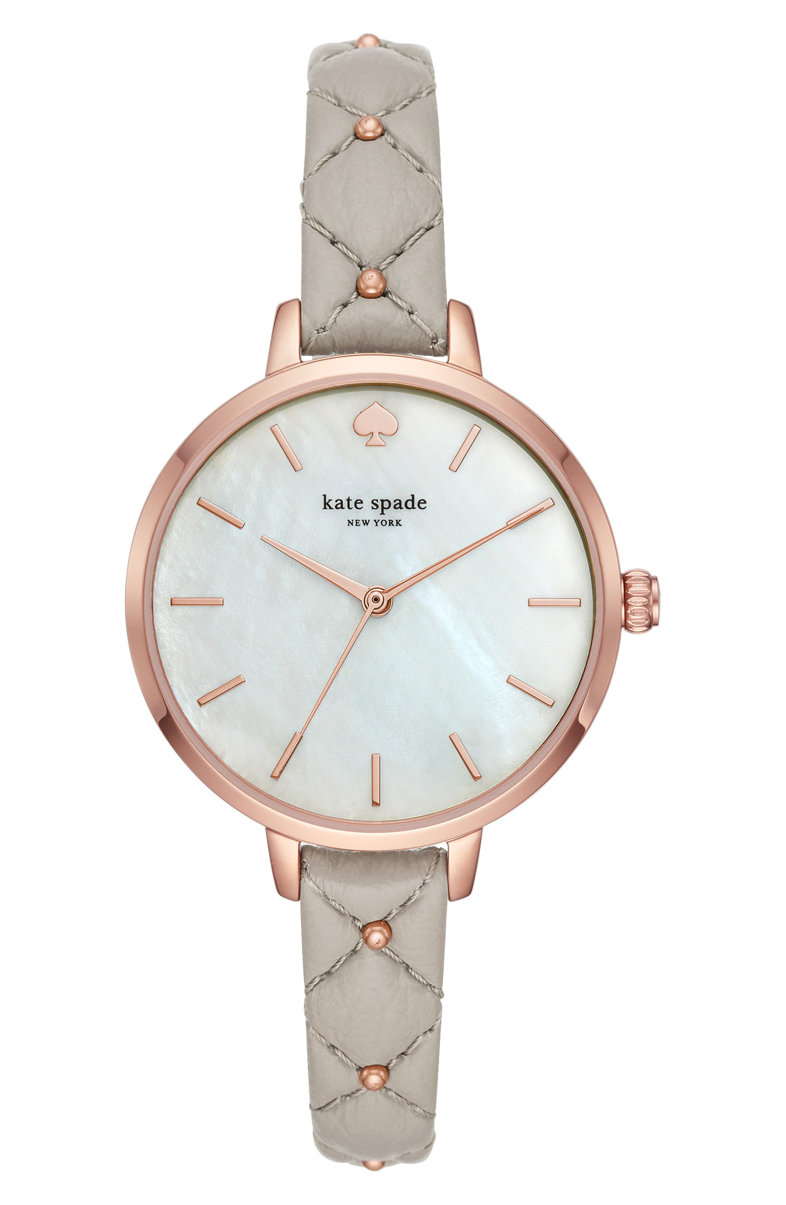 KATE SPADE NEW YORK, metro leather strap watch, 34mm, Main thumbnail 1, color, GREY/ MOP/ ROSE GOLD