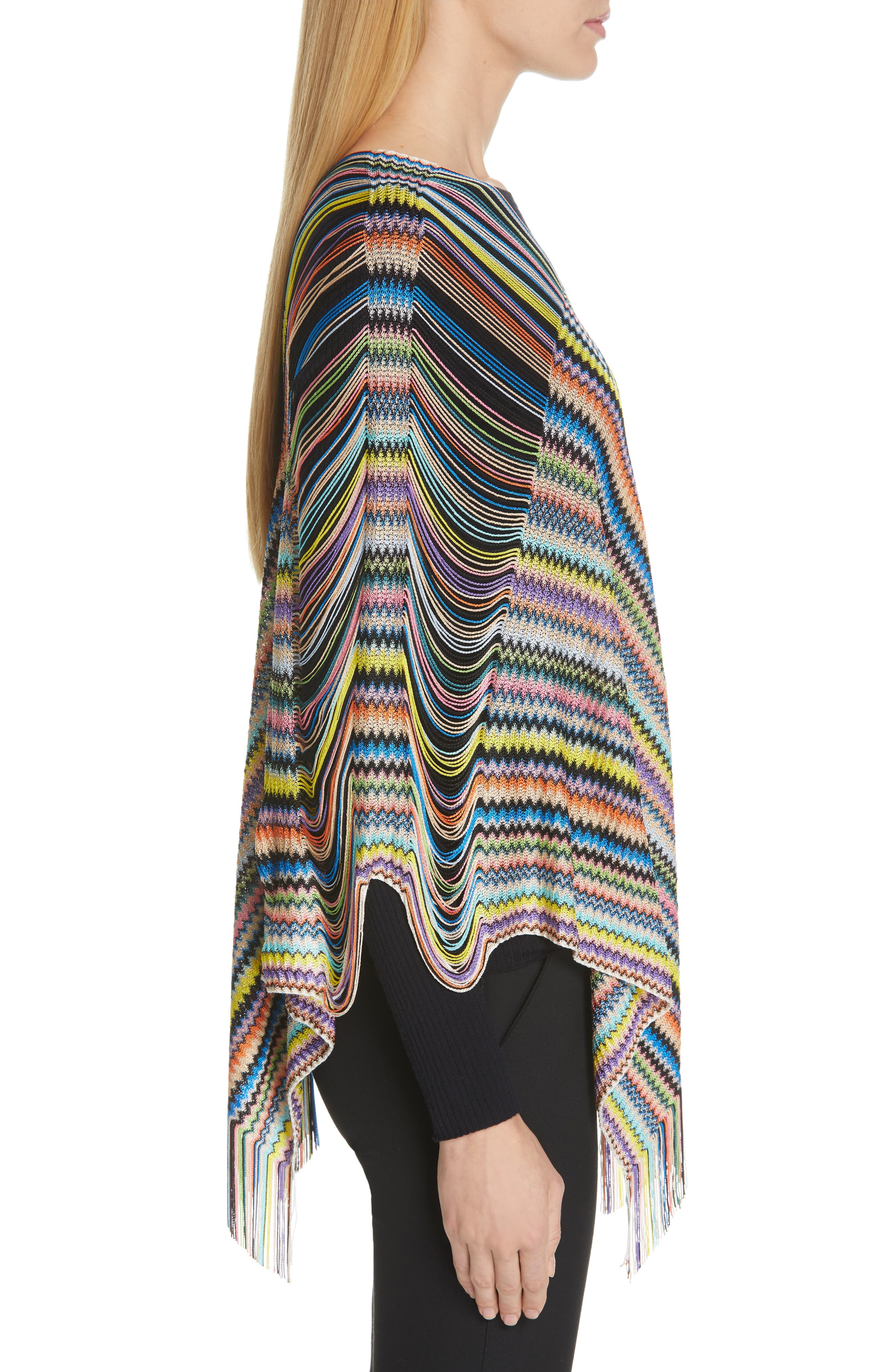MISSONI, Open Weave Shoulder Poncho, Alternate thumbnail 3, color, DANDELION