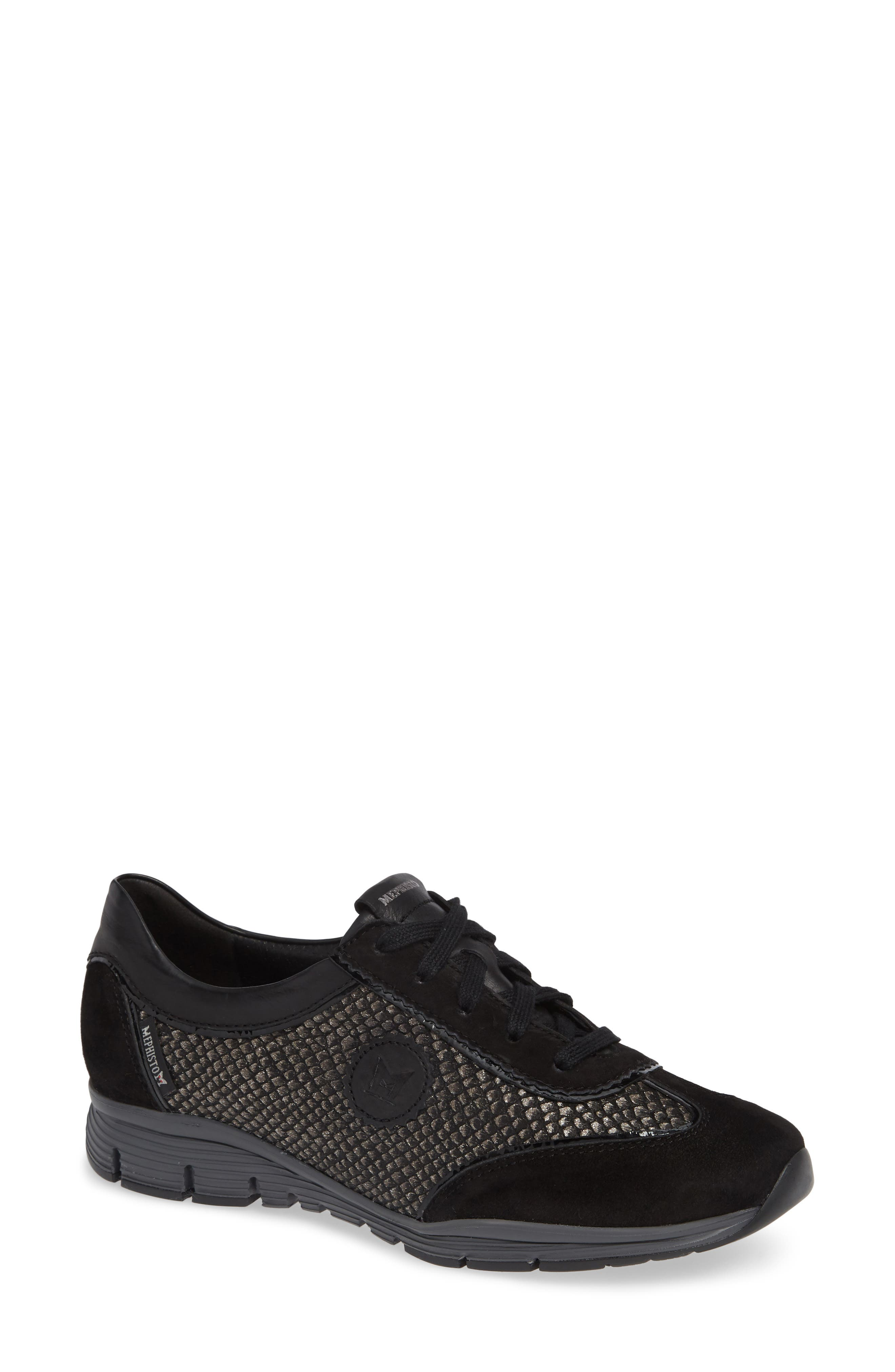 MEPHISTO, 'Yael' Soft-Air Sneaker, Main thumbnail 1, color, BLACK SUEDE