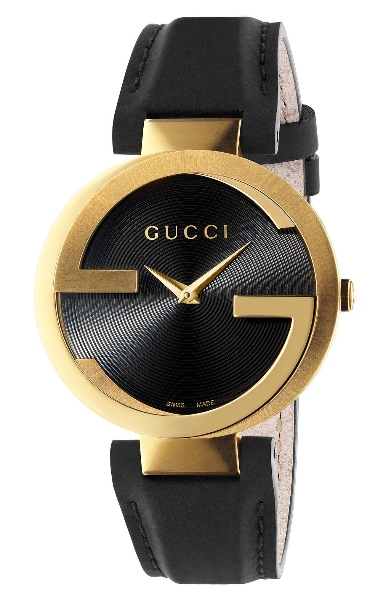 GUCCI, Interlocking Leather Strap Watch, 37mm, Main thumbnail 1, color, BLACK/ GOLD