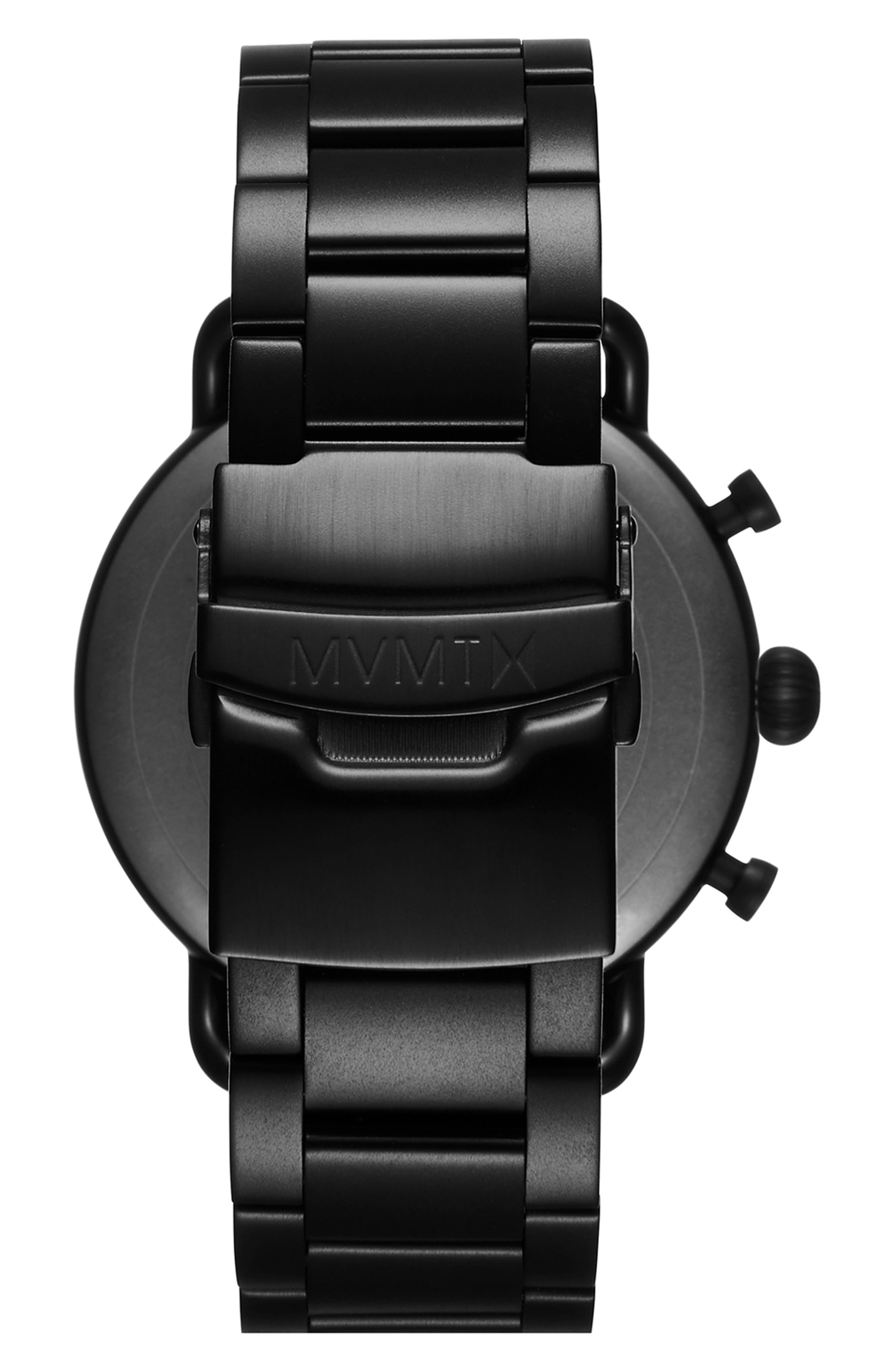 MVMT, Blacktop Chronograph Bracelet Watch, 47mm, Alternate thumbnail 2, color, BLACK/ BLACK