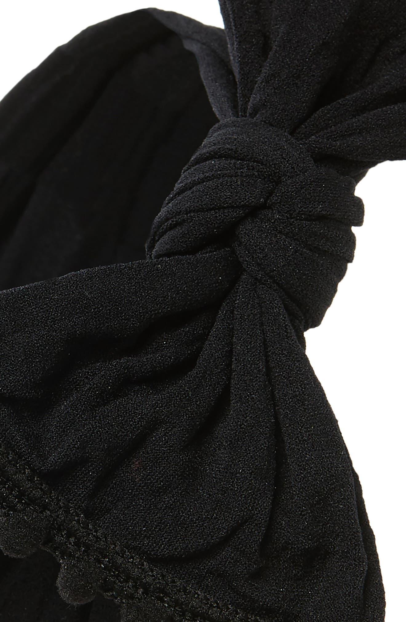BABY BLING, Pompom Trim Headband, Alternate thumbnail 2, color, BLACK POM