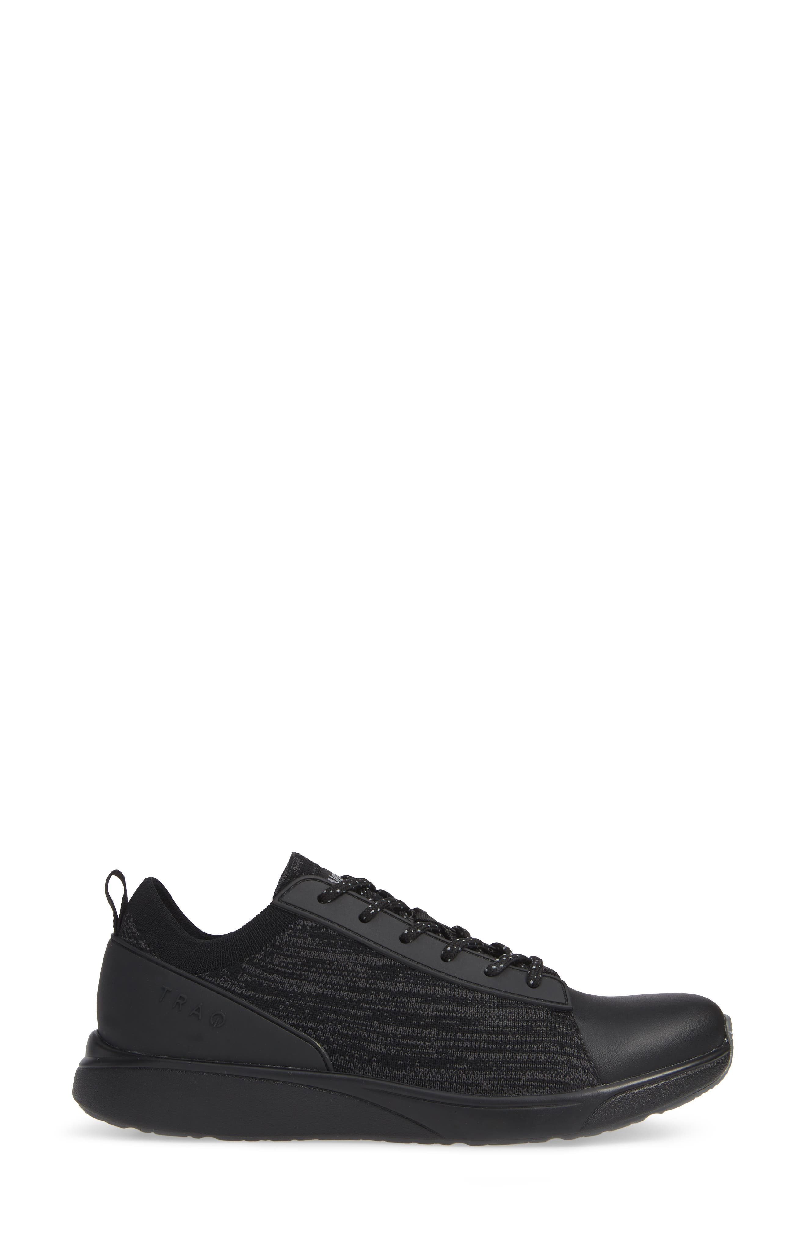 ALEGRIA, Qest Sneaker, Alternate thumbnail 3, color, BLACK LEATHER