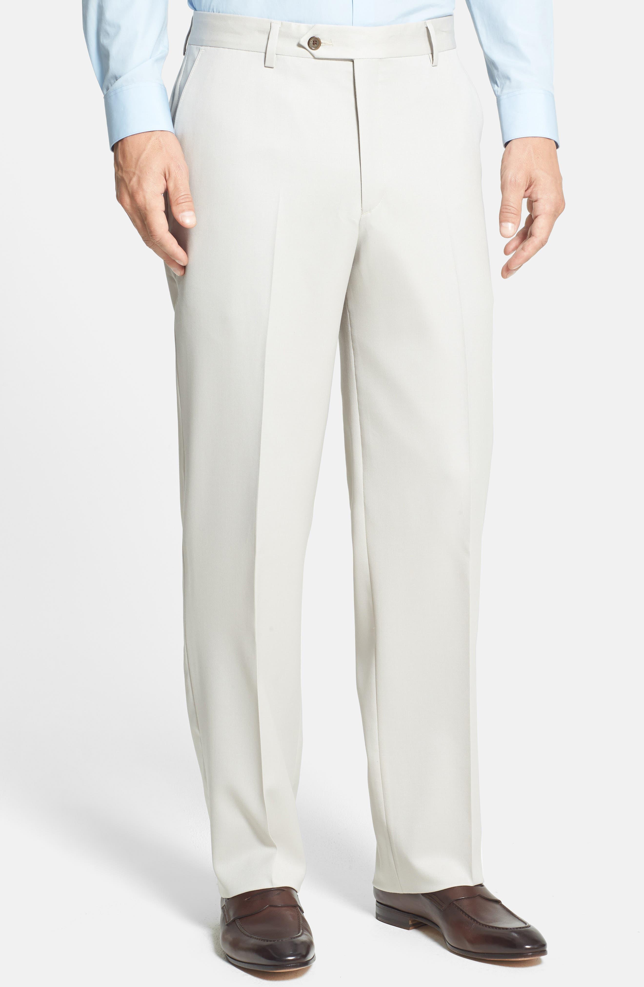 BERLE, Flat Front Wool Gabardine Trousers, Alternate thumbnail 5, color, STONE