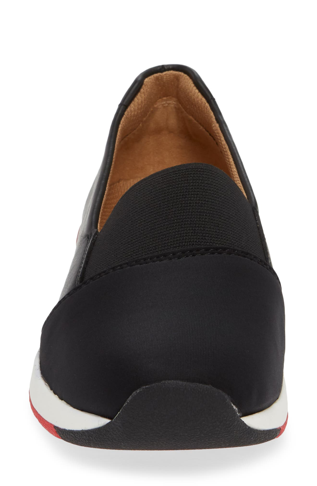 VIONIC, Cameo Slip-On Shoe, Alternate thumbnail 4, color, BLACK LEATHER NEOPRENE