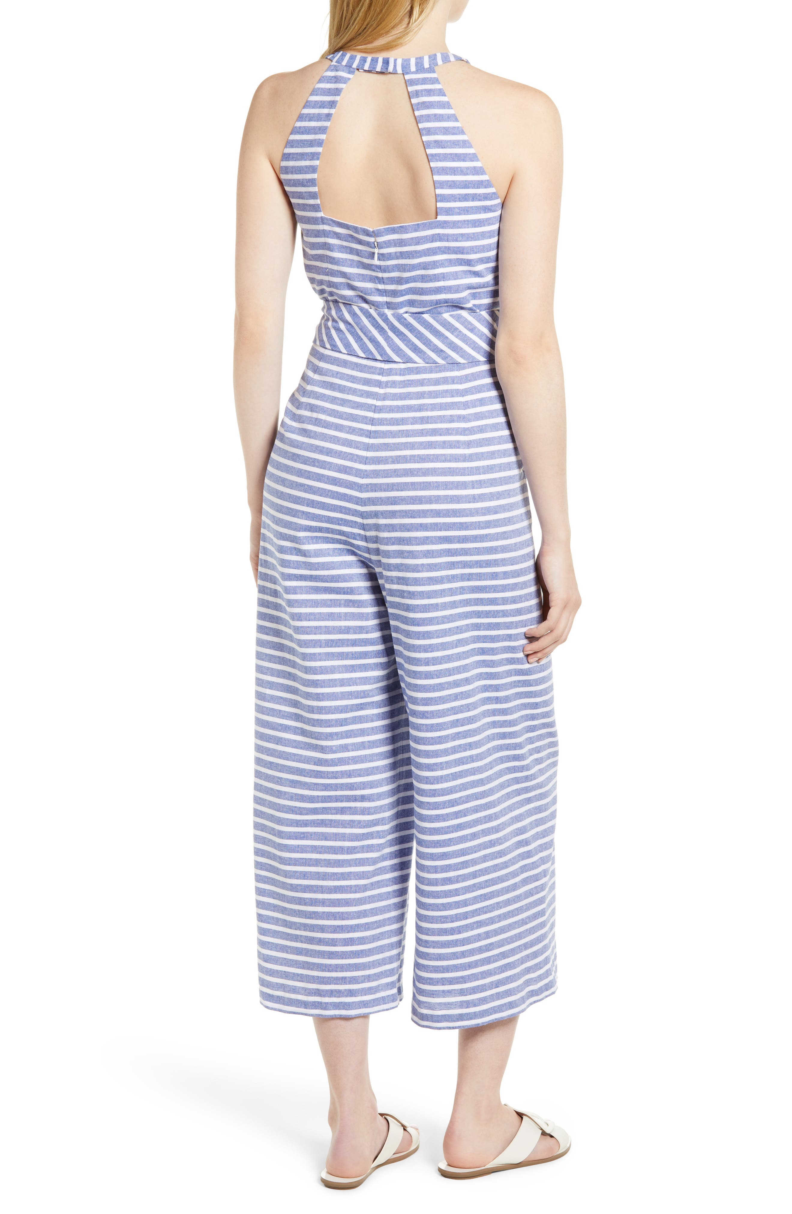 1901, Halter Neck Stripe Crop Jumpsuit, Alternate thumbnail 2, color, NAVY