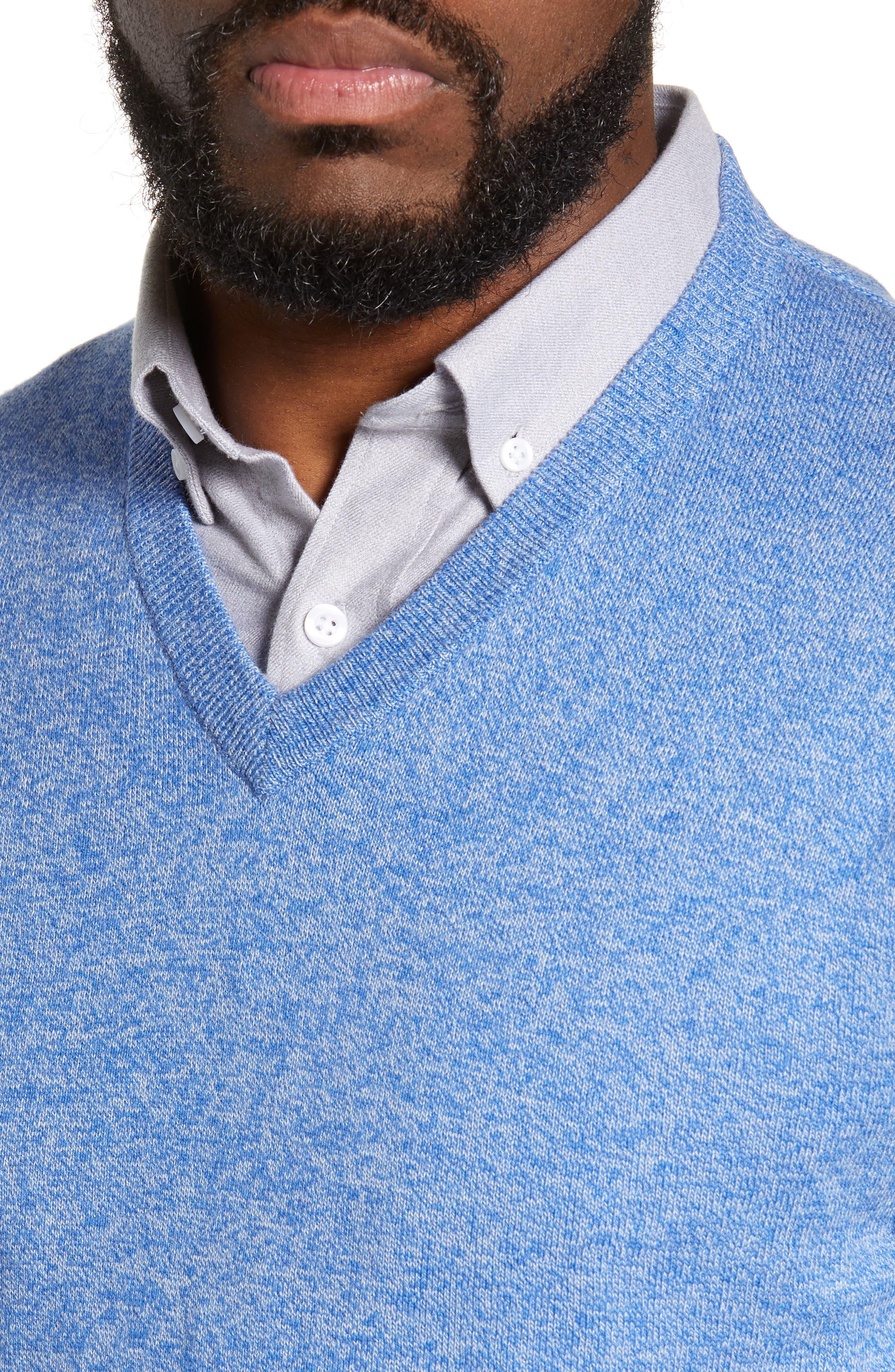 NORDSTROM MEN'S SHOP, Cotton & Cashmere V-Neck Sweater, Alternate thumbnail 4, color, BLUE CAMP MARL