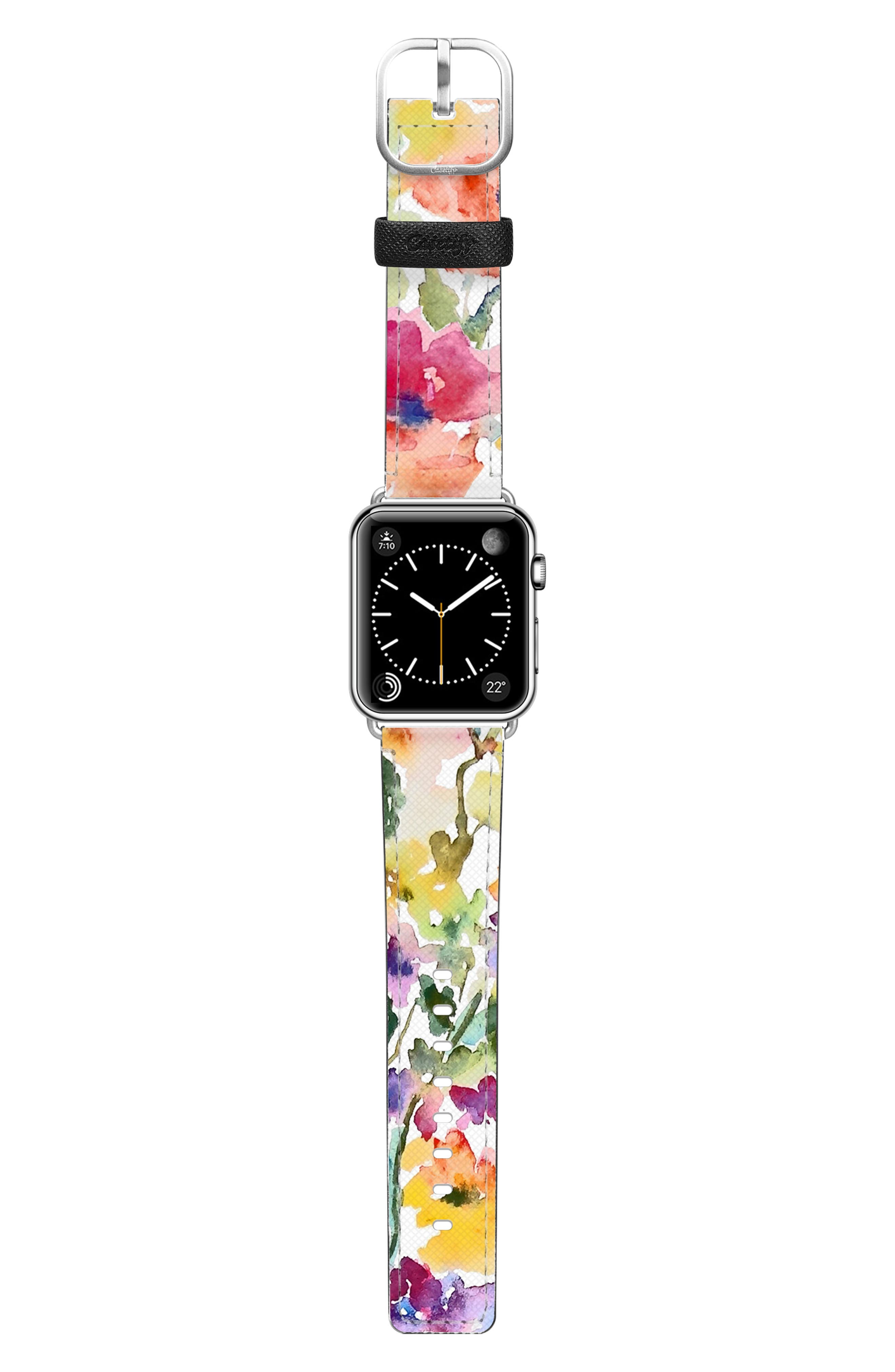 CASETIFY, Saffiano From the Garden Faux Leather Apple Watch Strap, Alternate thumbnail 3, color, WHITE/ SILVER