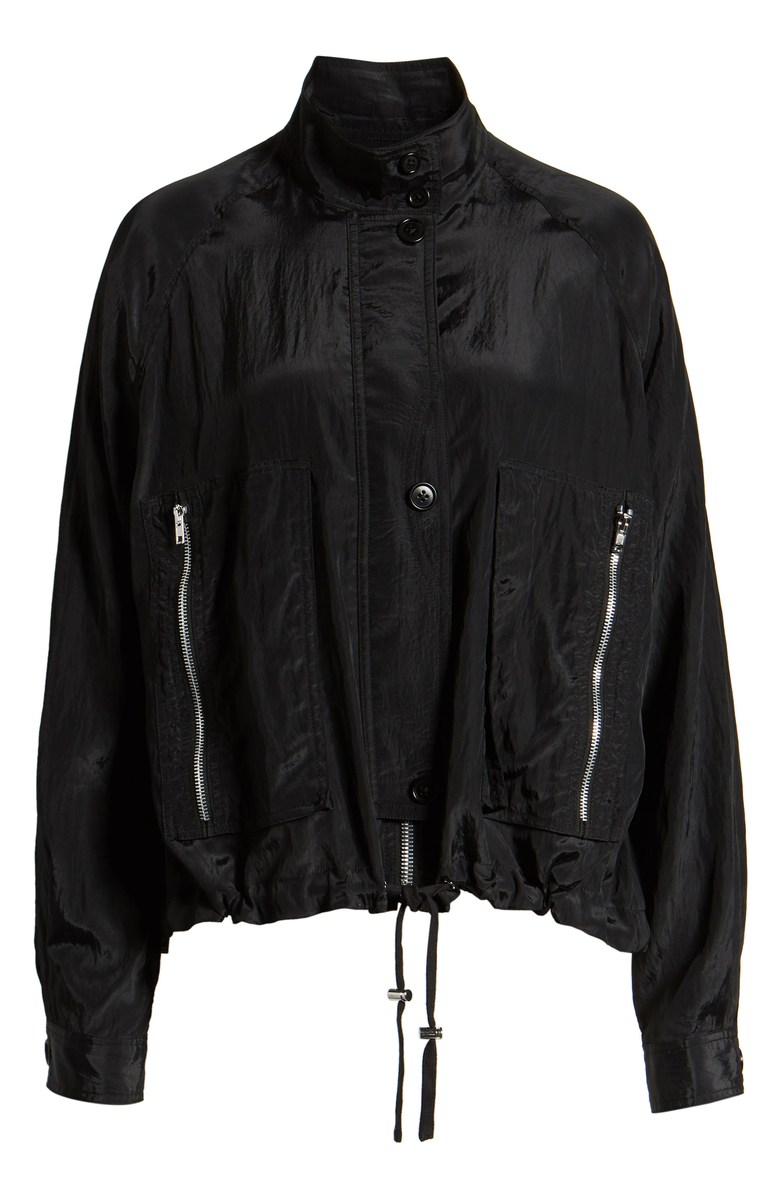 HELMUT LANG, Parachute Short Trench Jacket, Alternate thumbnail 5, color, BLACK