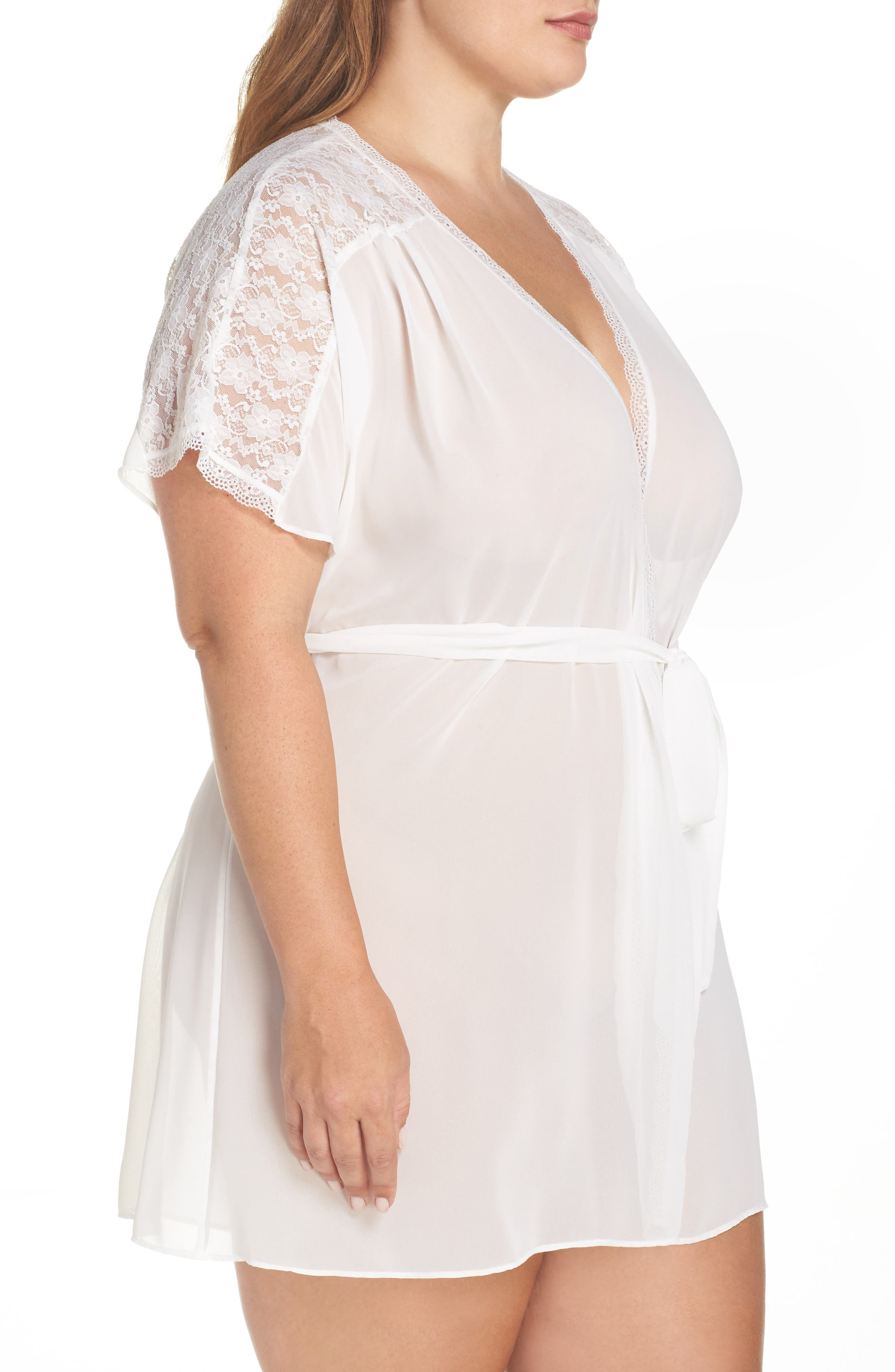 IN BLOOM BY JONQUIL, Chiffon Robe, Alternate thumbnail 3, color, IVORY
