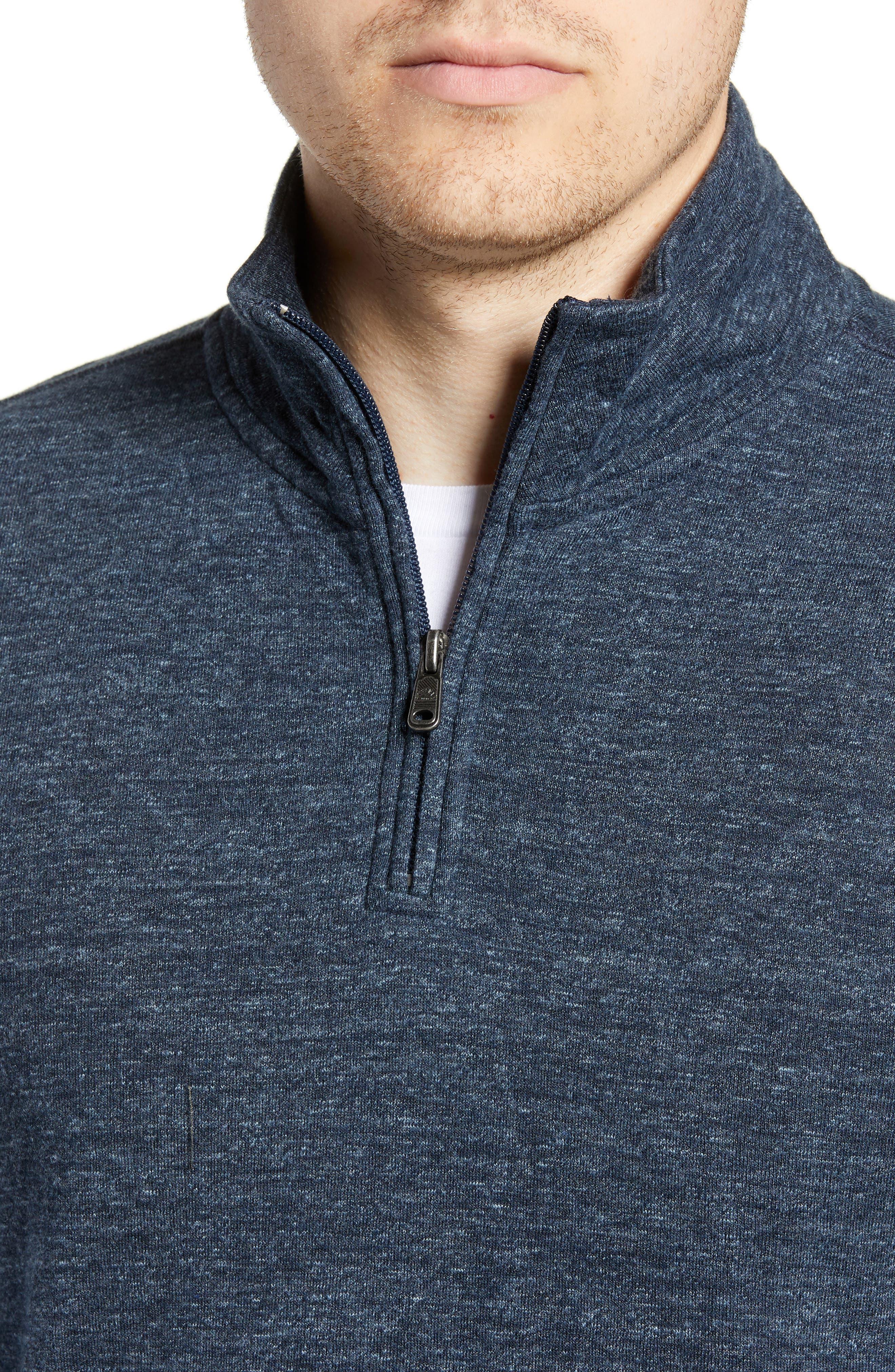 FAHERTY, Brand Dual Knit Regular Fit Quarter Zip Pullover, Alternate thumbnail 4, color, NAVY
