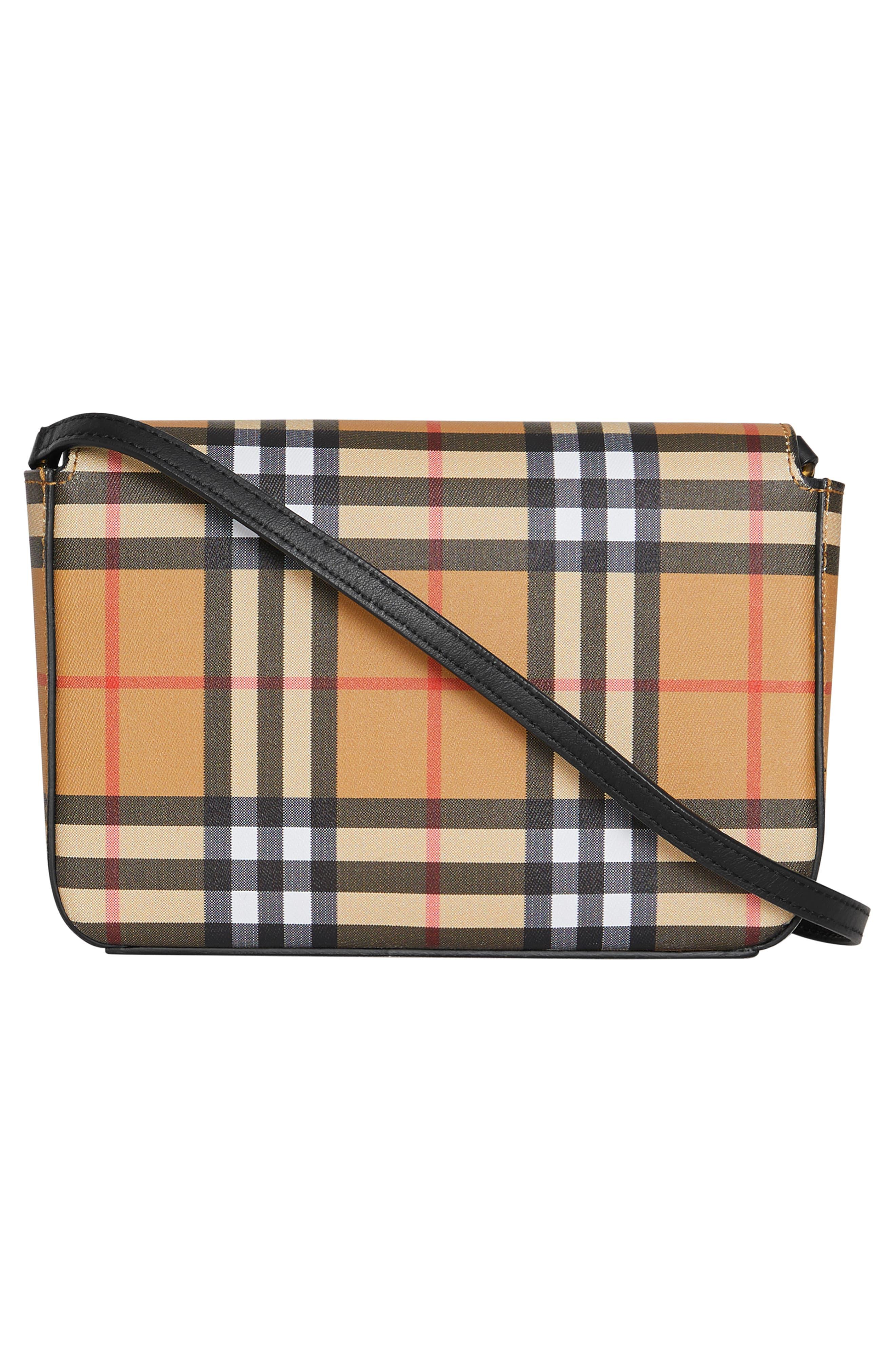 BURBERRY, Hampshire Vintage Check Crossbody Bag, Alternate thumbnail 3, color, BLACK