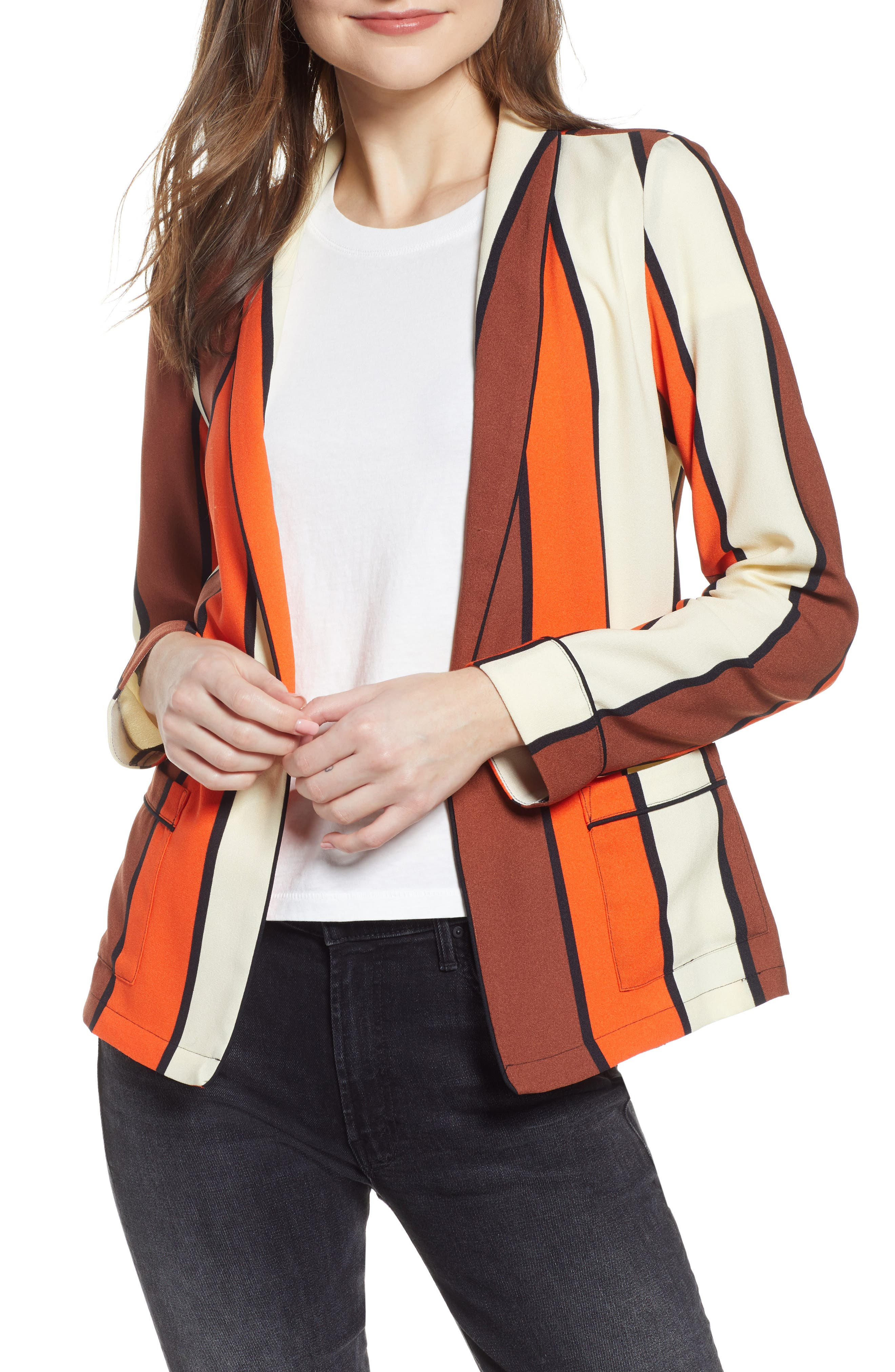 SCOTCH & SODA, Stripe Drapey Blazer, Main thumbnail 1, color, COMBO S
