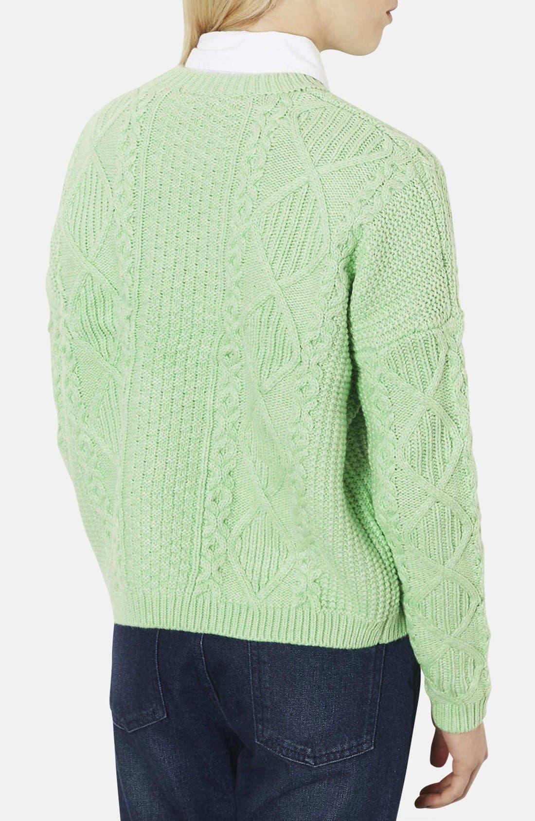 TOPSHOP, Crewneck Cable Knit Sweater, Alternate thumbnail 3, color, 340