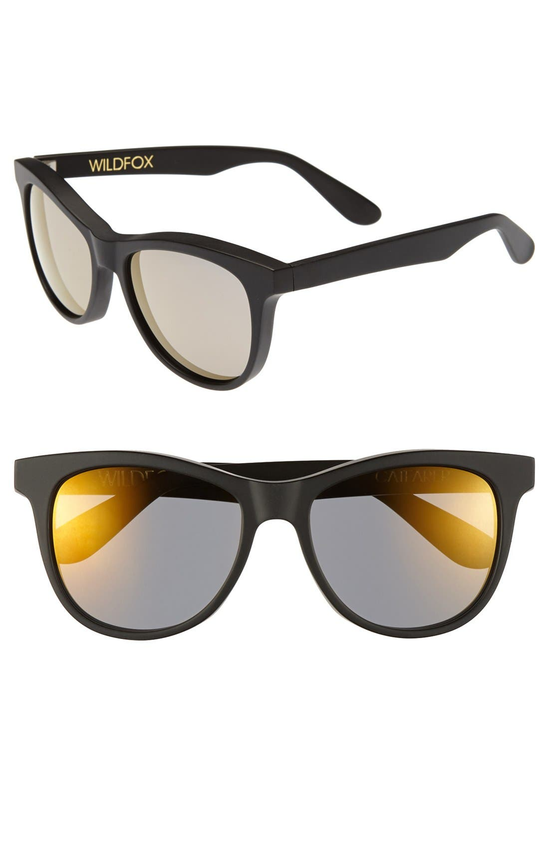 WILDFOX, 'Catfarer Deluxe' 53mm Sunglasses, Main thumbnail 1, color, 001
