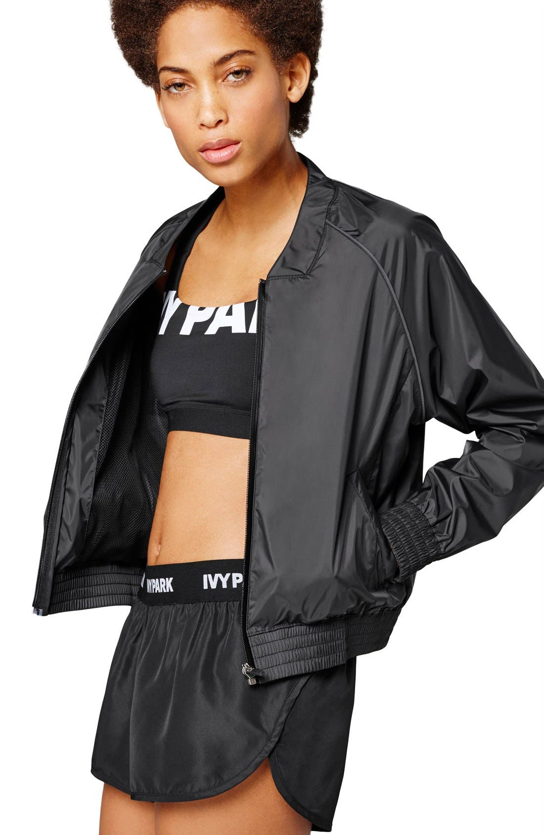IVY PARK<SUP>®</SUP>, Technical Bomber Jacket with Reflective Logo, Main thumbnail 1, color, 001