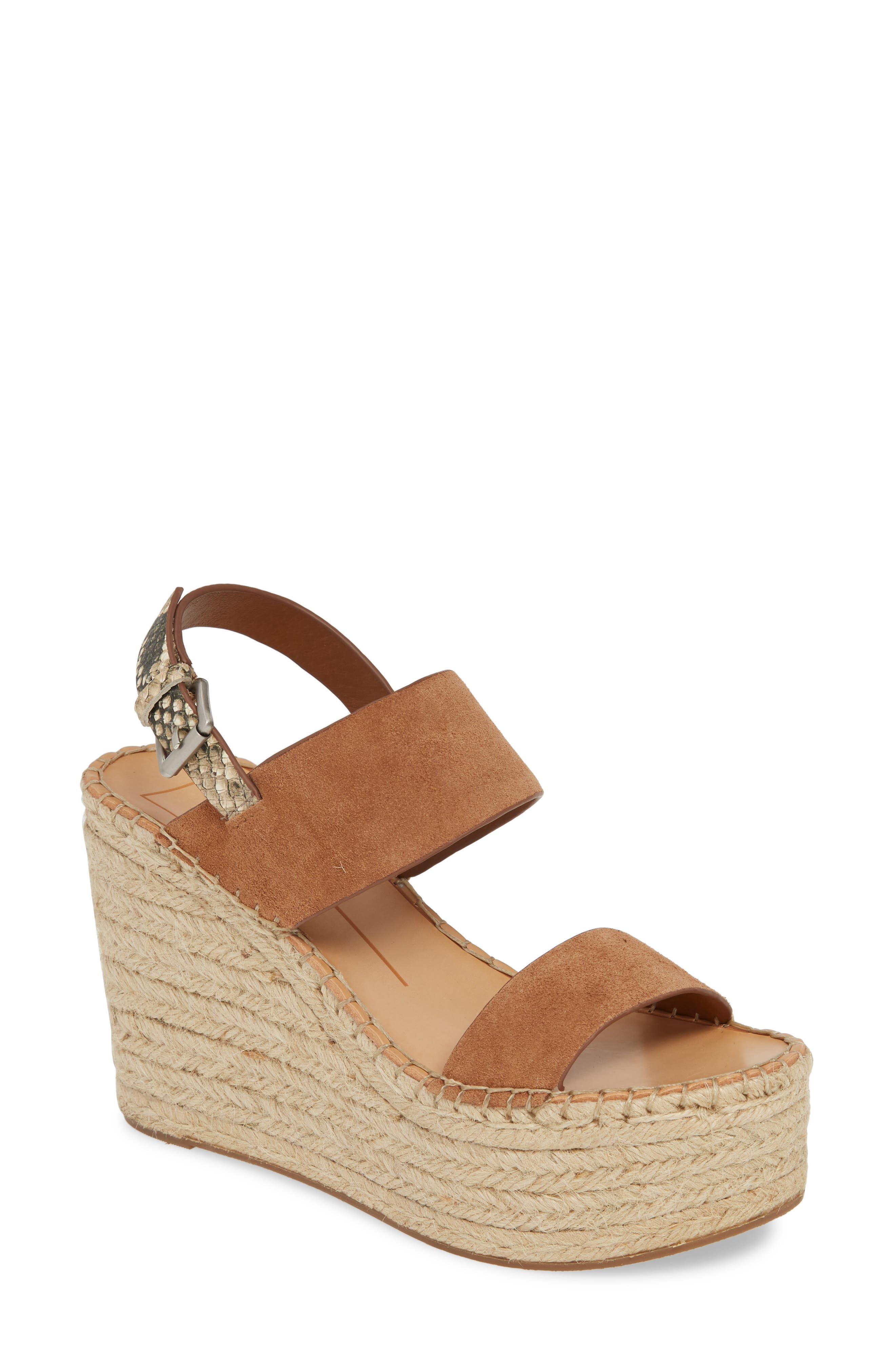 DOLCE VITA, Spiro Platform Wedge Sandal, Main thumbnail 1, color, BROWN SUEDE