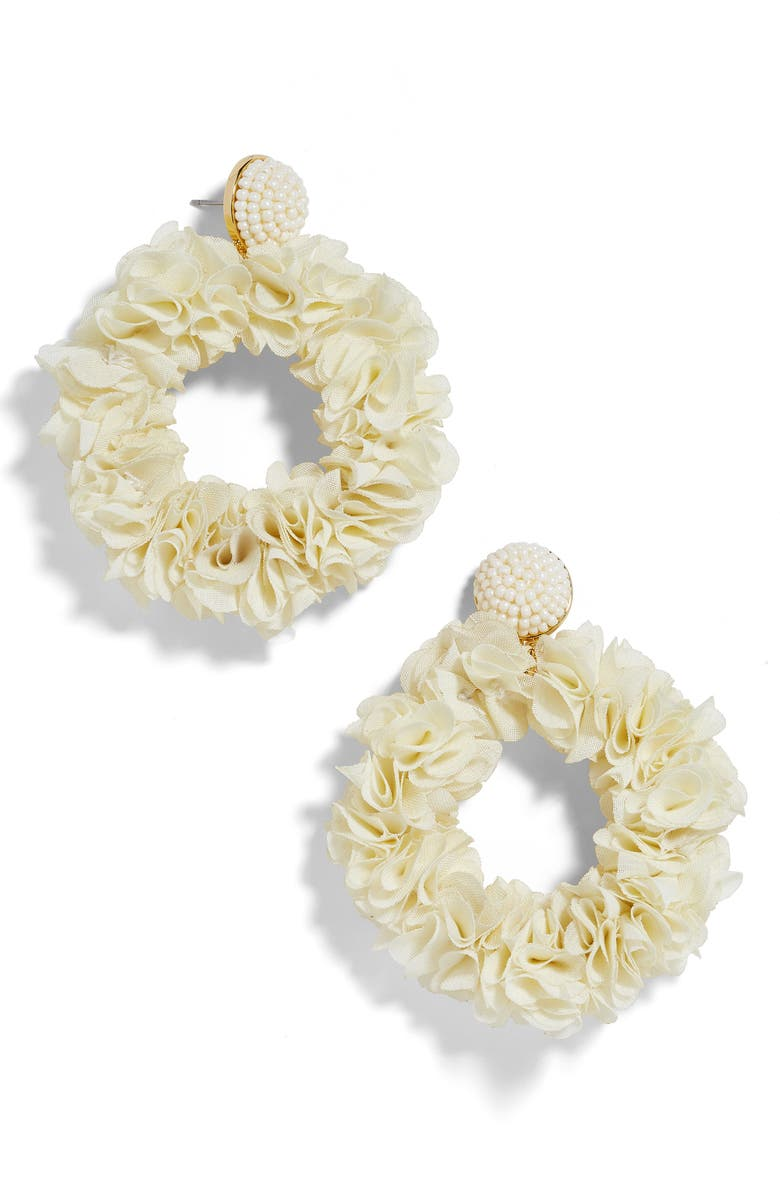 Baublebar Accessories CAMELLIA FLORAL HOOP DROP EARRINGS
