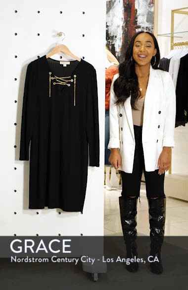Chain Lace-Up V-Neck Sweater Dress, sales video thumbnail