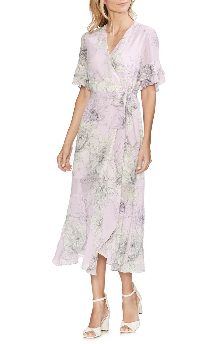 VINCE CAMUTO Blossoms Tiered Ruffle Midi Dress, Main, color, FRESH LILAC
