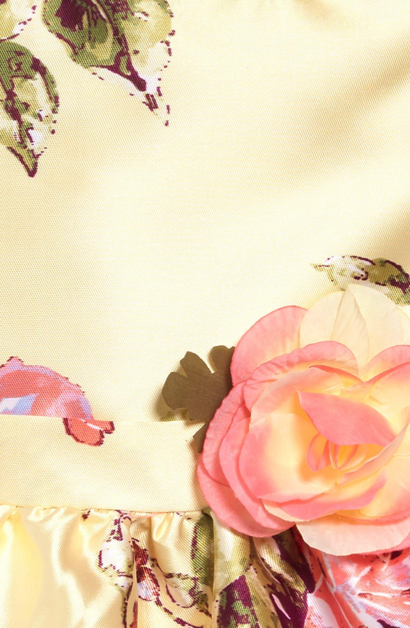 ZUNIE, Floral Print Scalloped Hem Dress, Alternate thumbnail 3, color, YELLOW FLORAL