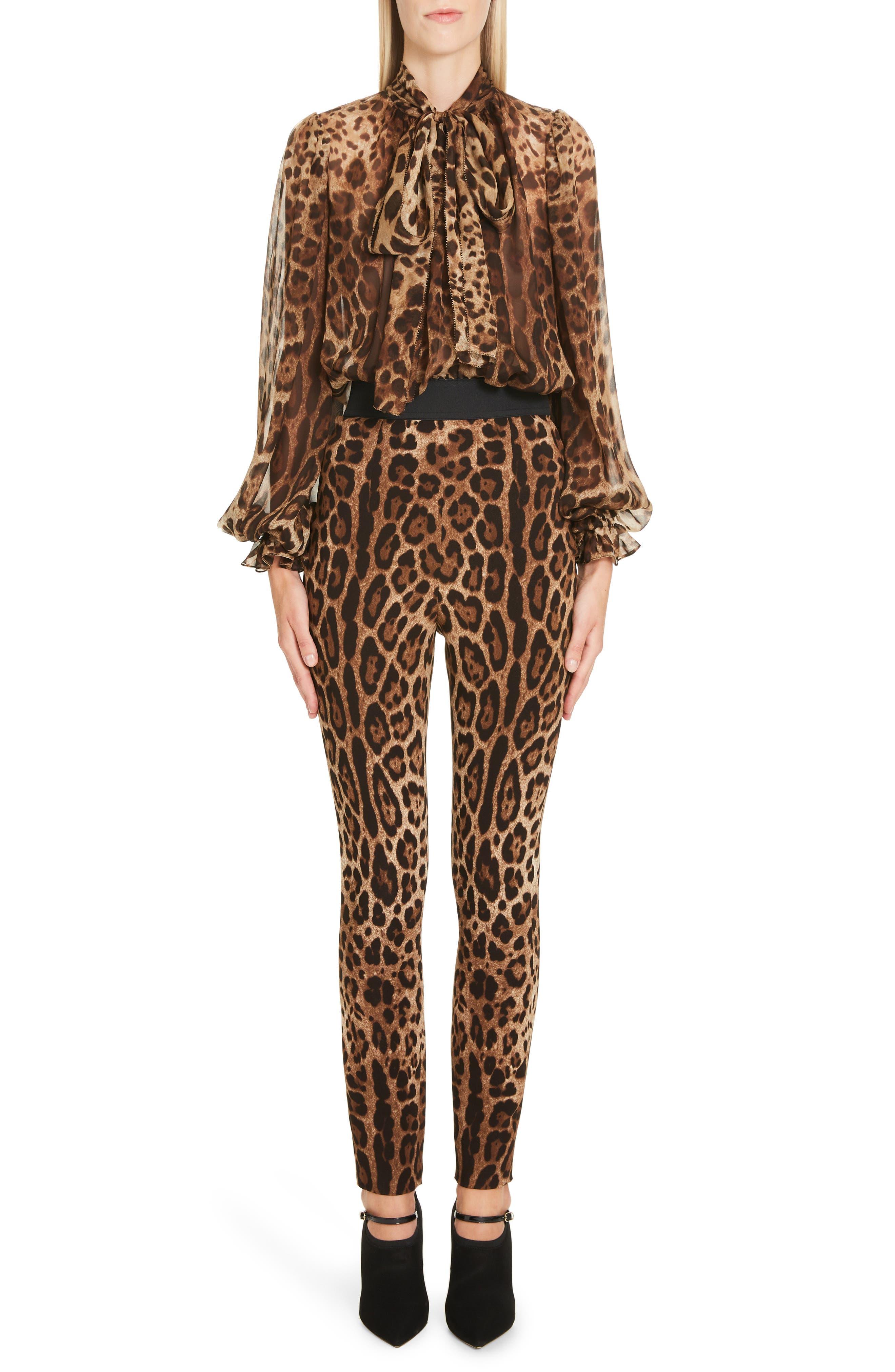 DOLCE&GABBANA, Leopard Print Cady Leggings, Alternate thumbnail 7, color, LEO