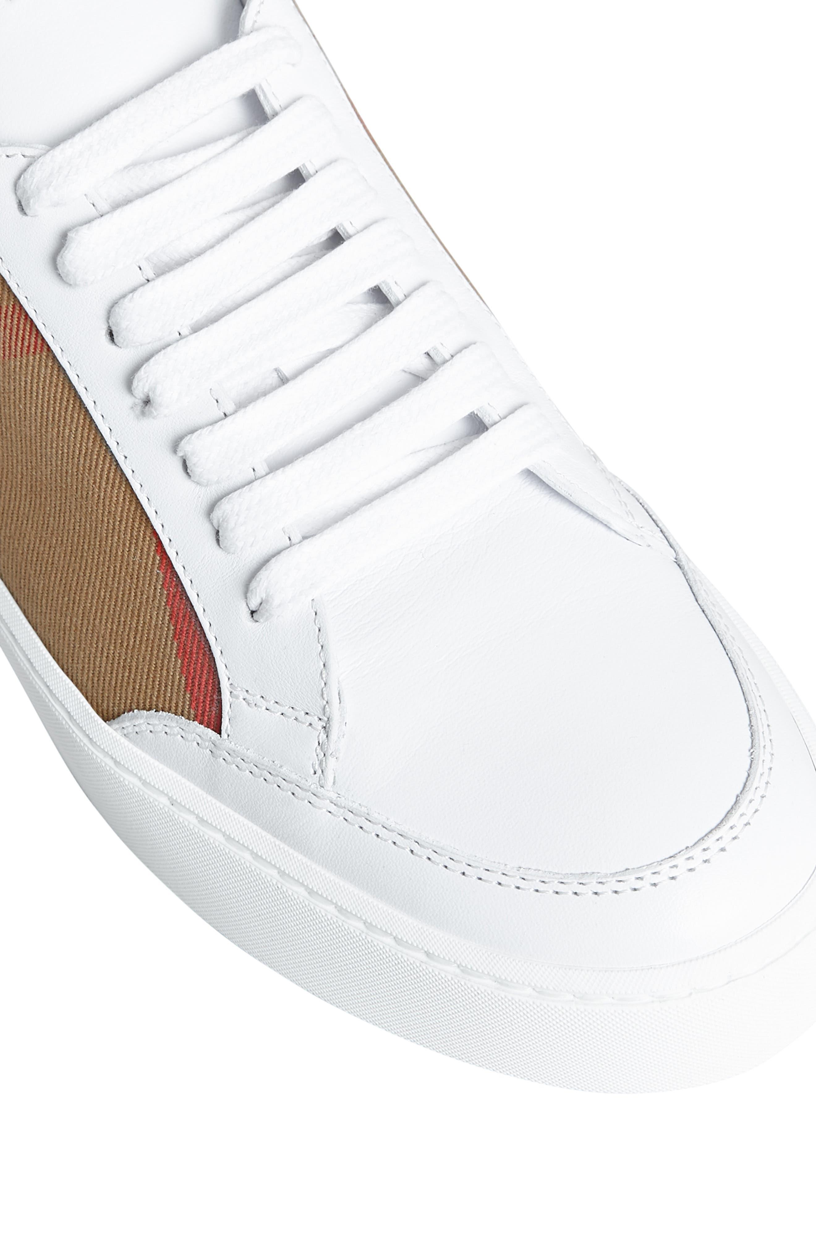 BURBERRY, Salmond Sneaker, Alternate thumbnail 7, color, WHITE
