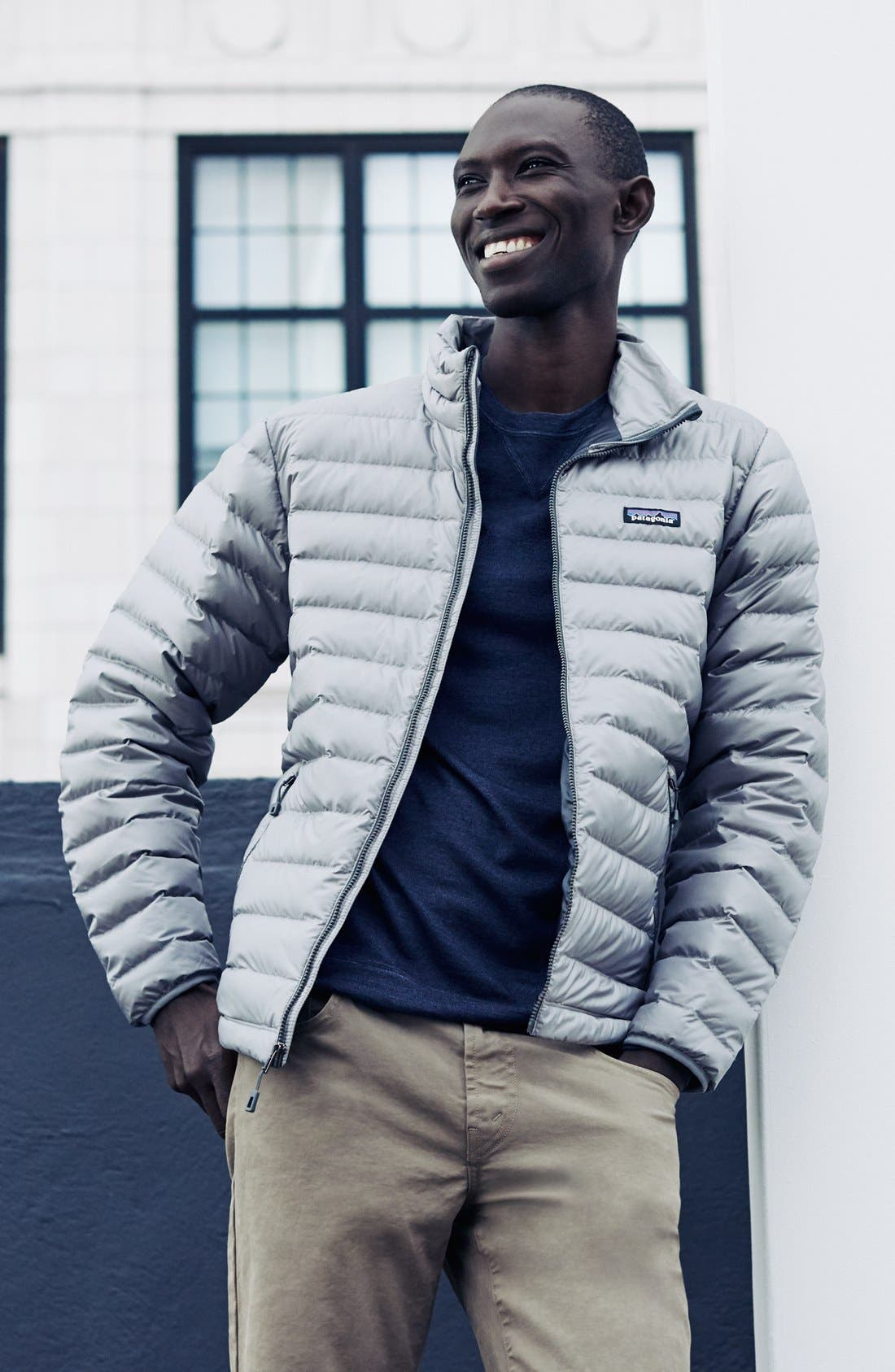 PATAGONIA, Water Repellent Down Jacket, Alternate thumbnail 8, color, NAVY BLUE W/ NAVY BLUE