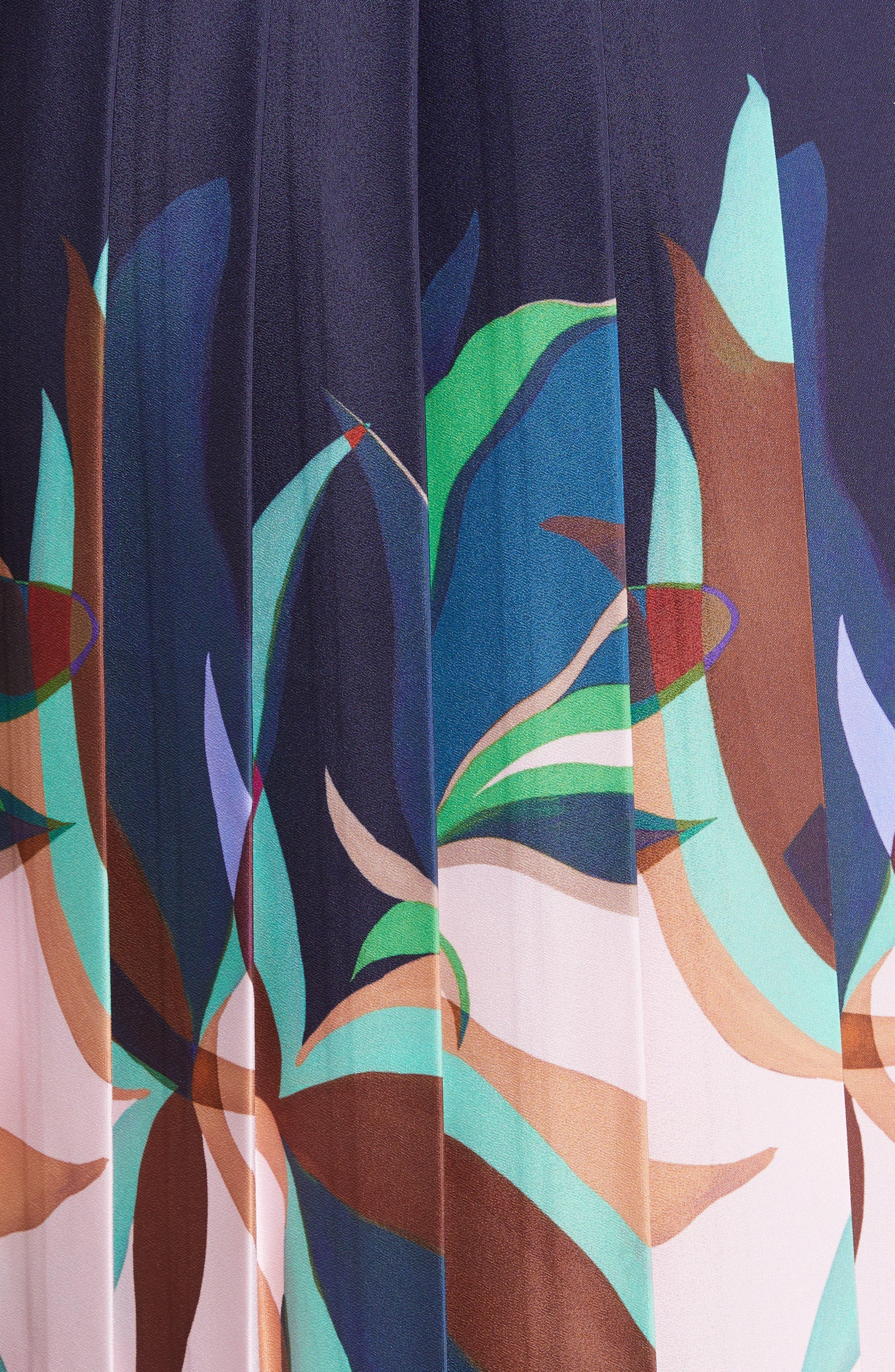 TED BAKER LONDON, Leonore Supernatural Fit & Flare Dress, Alternate thumbnail 5, color, NAVY