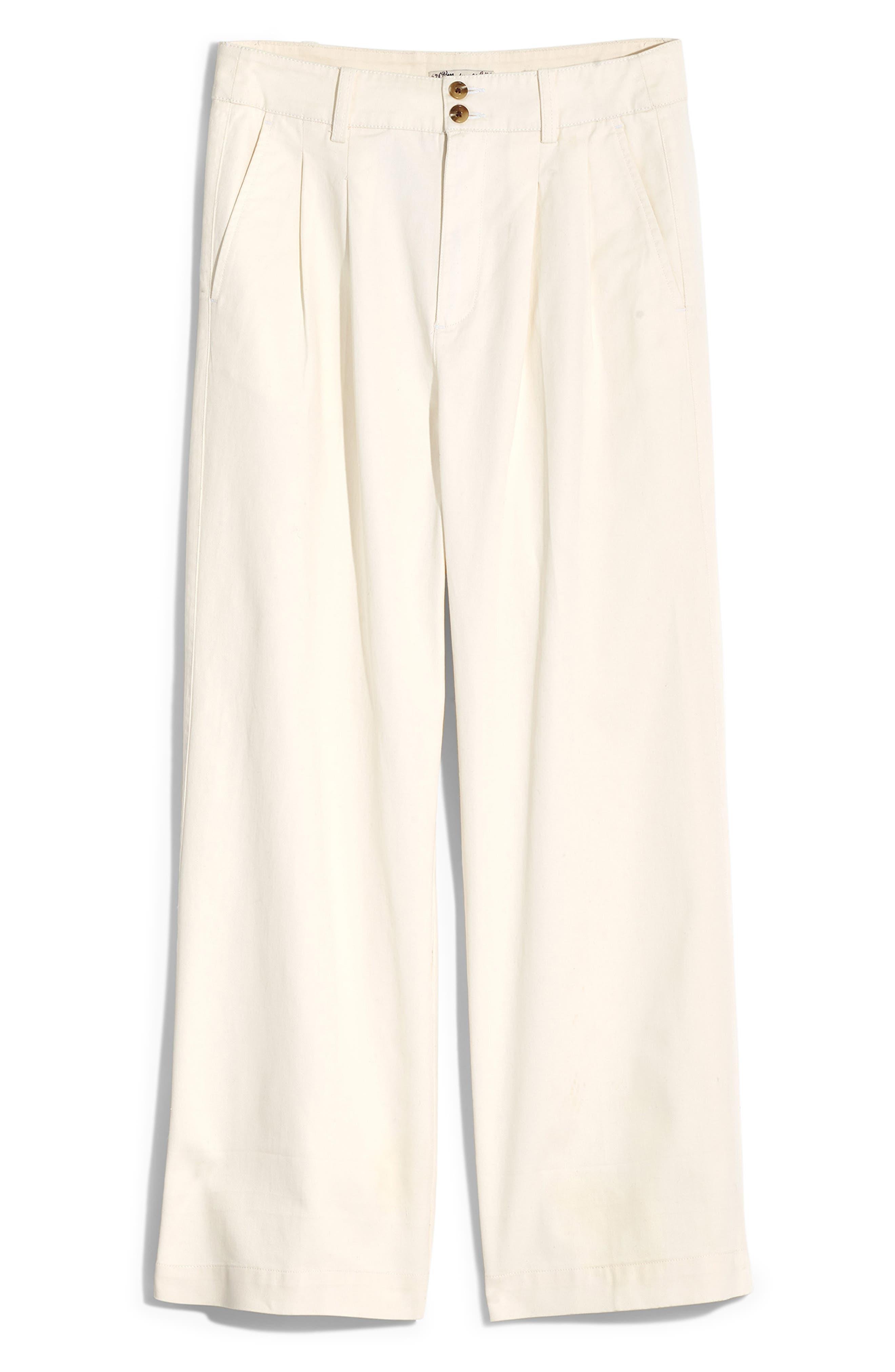 MADEWELL, High Waist Crop Wide Leg Pants, Alternate thumbnail 6, color, LIGHTHOUSE