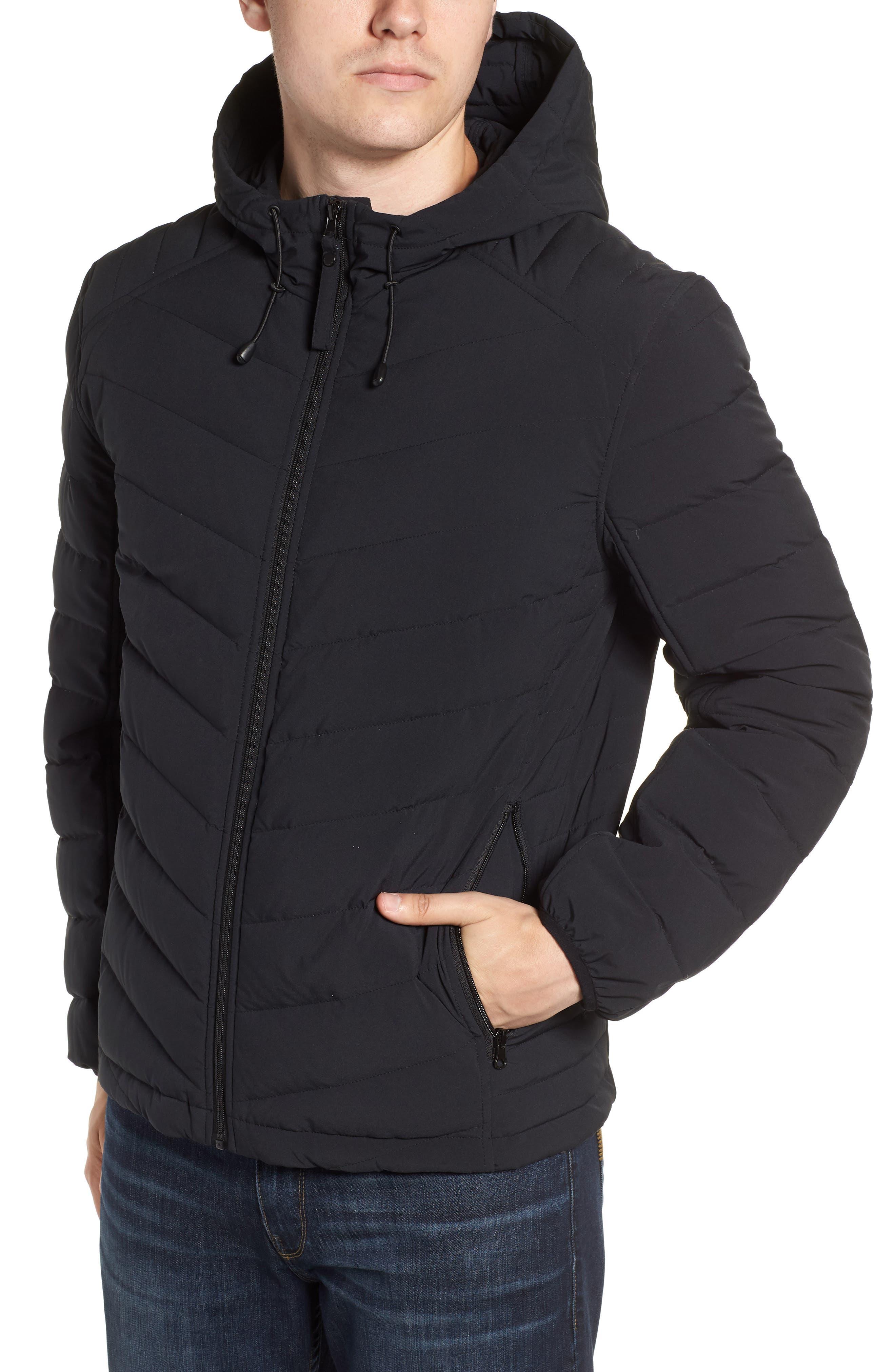MARC NEW YORK, Delavan Down Hooded Jacket, Alternate thumbnail 4, color, BLACK