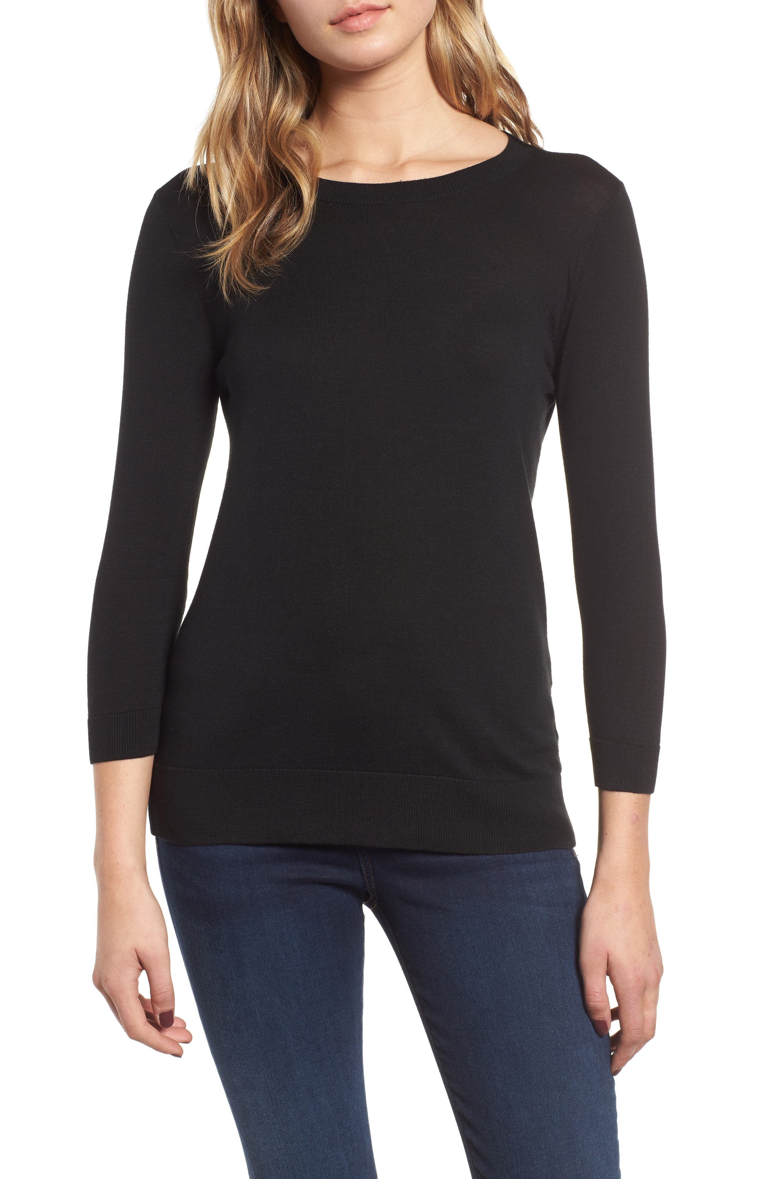 1901 Back Button Crewneck Sweater, Main, color, BLACK