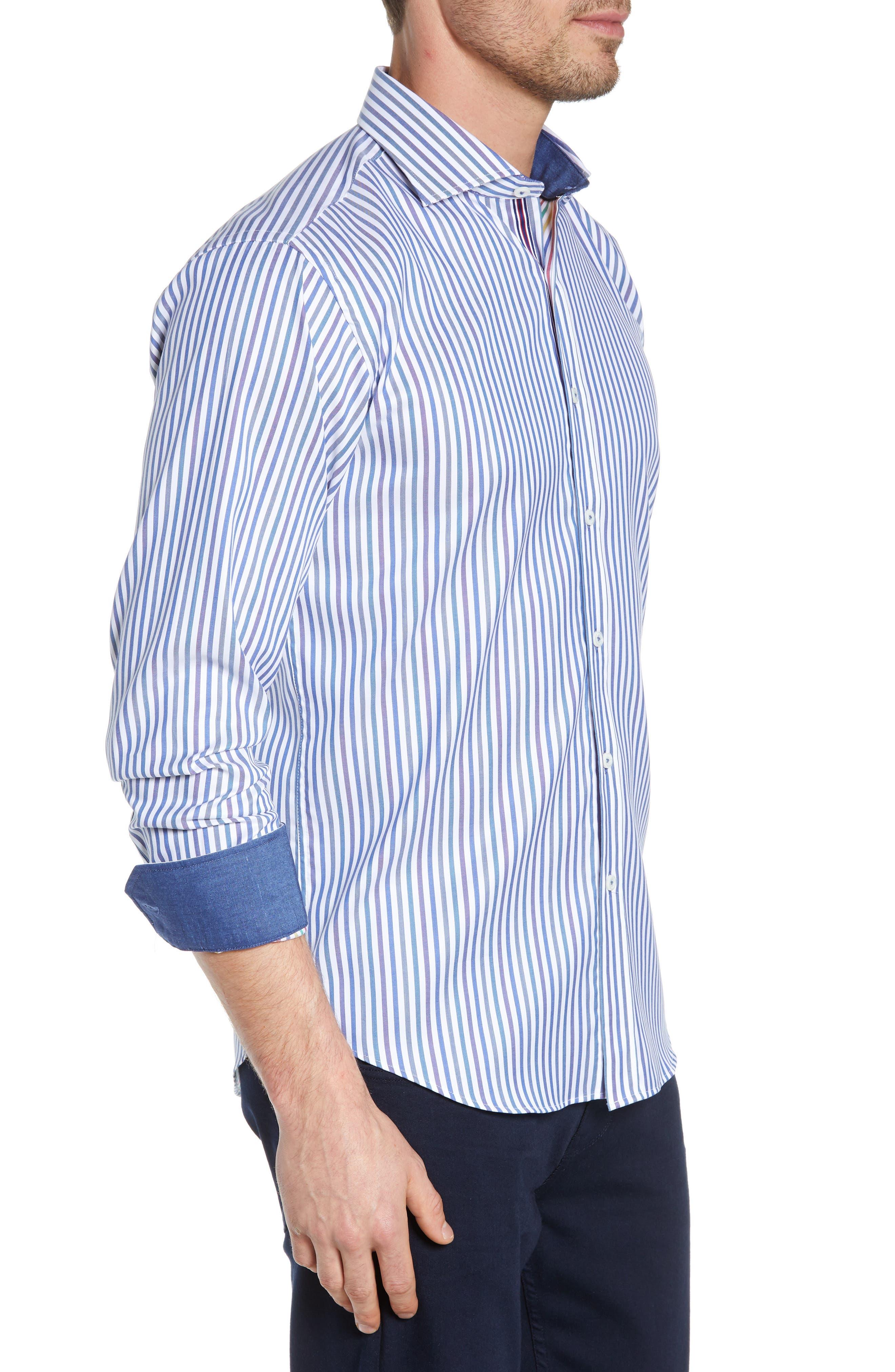 BUGATCHI, Classic Fit Stripe Sport Shirt, Alternate thumbnail 4, color, CHALK