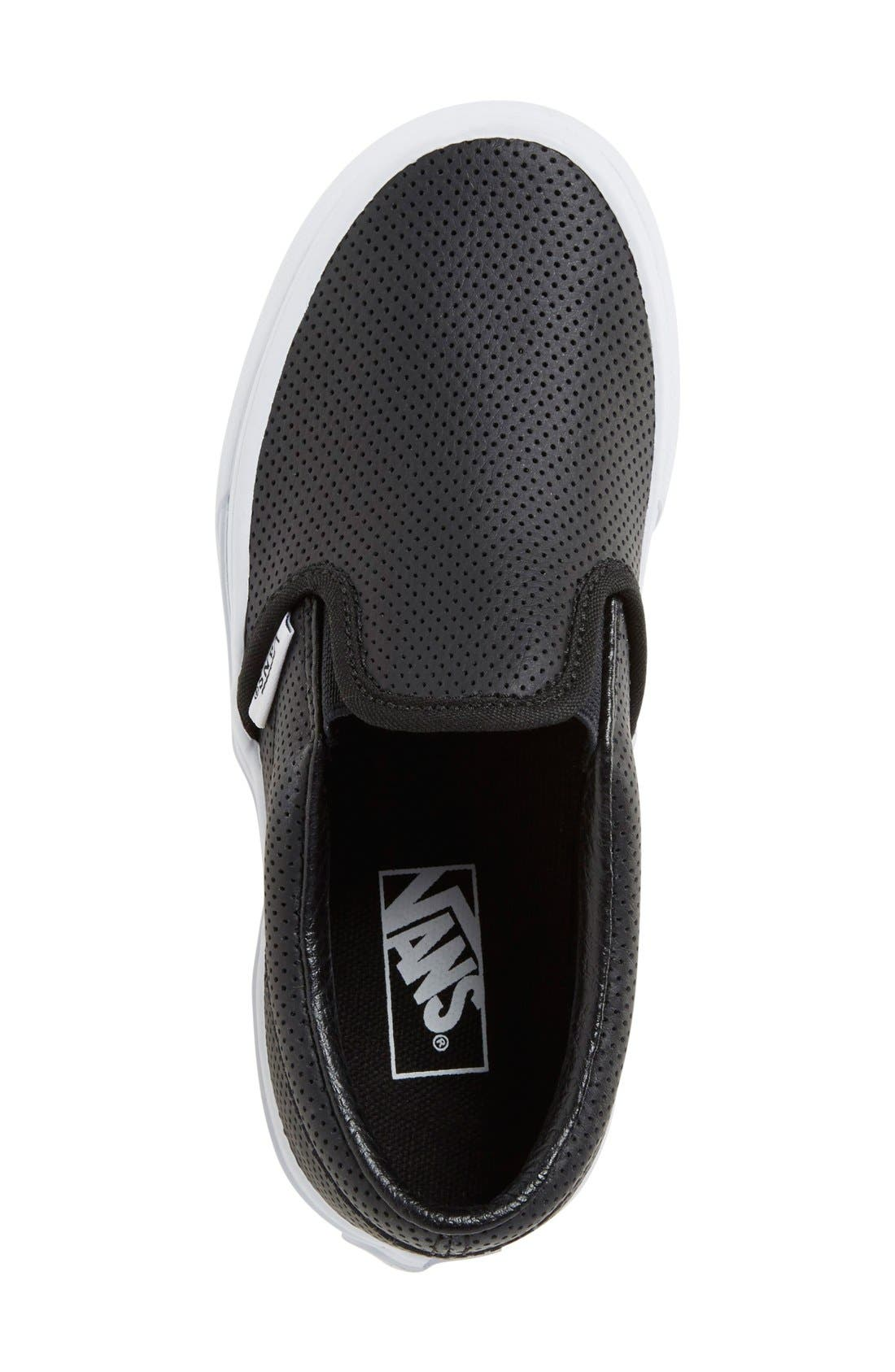 VANS, 'Classic' Slip-On Sneaker, Alternate thumbnail 3, color, BLACK LEATHER