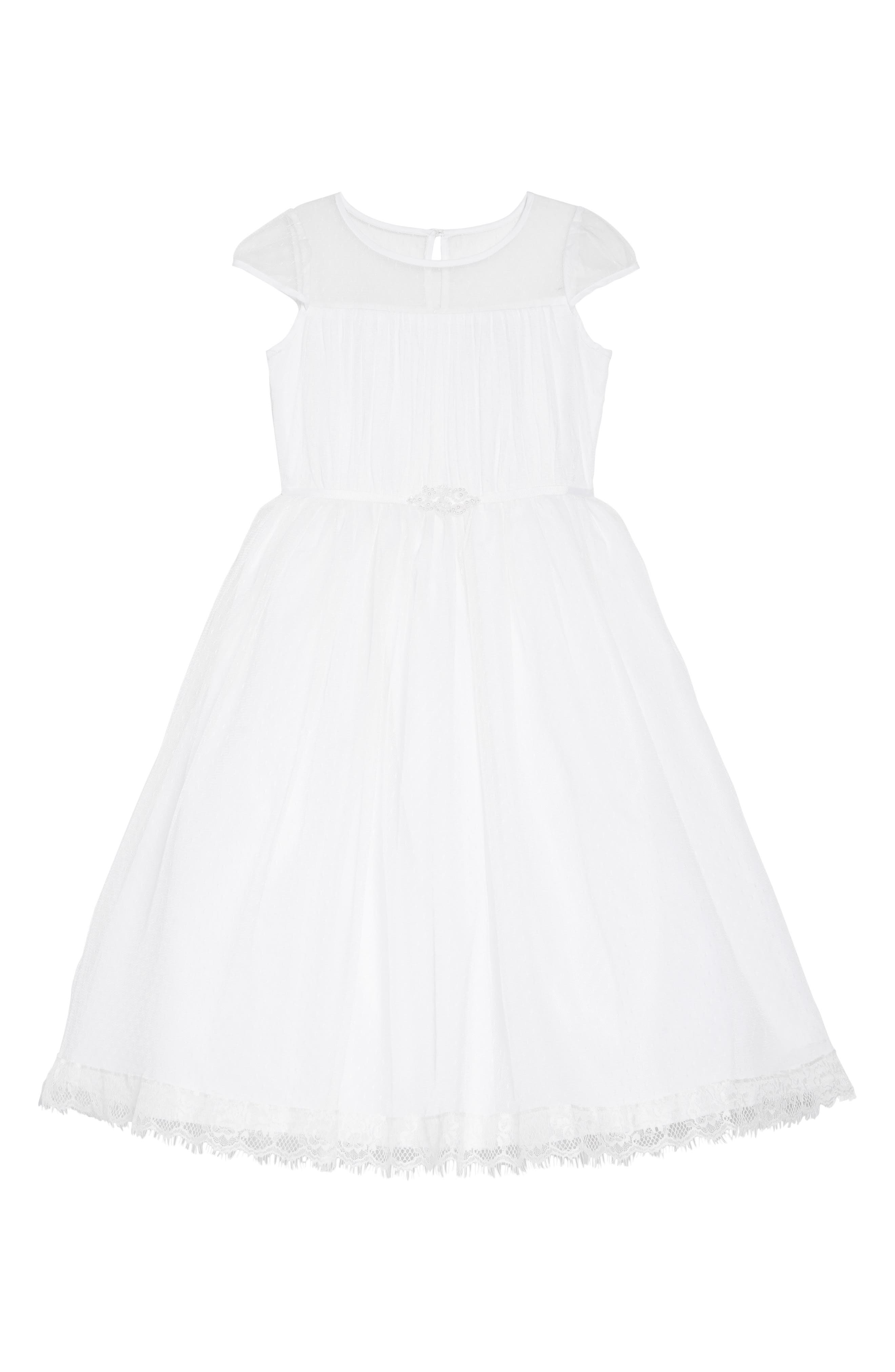 US ANGELS Illusion Neckline Dress, Main, color, WHITE