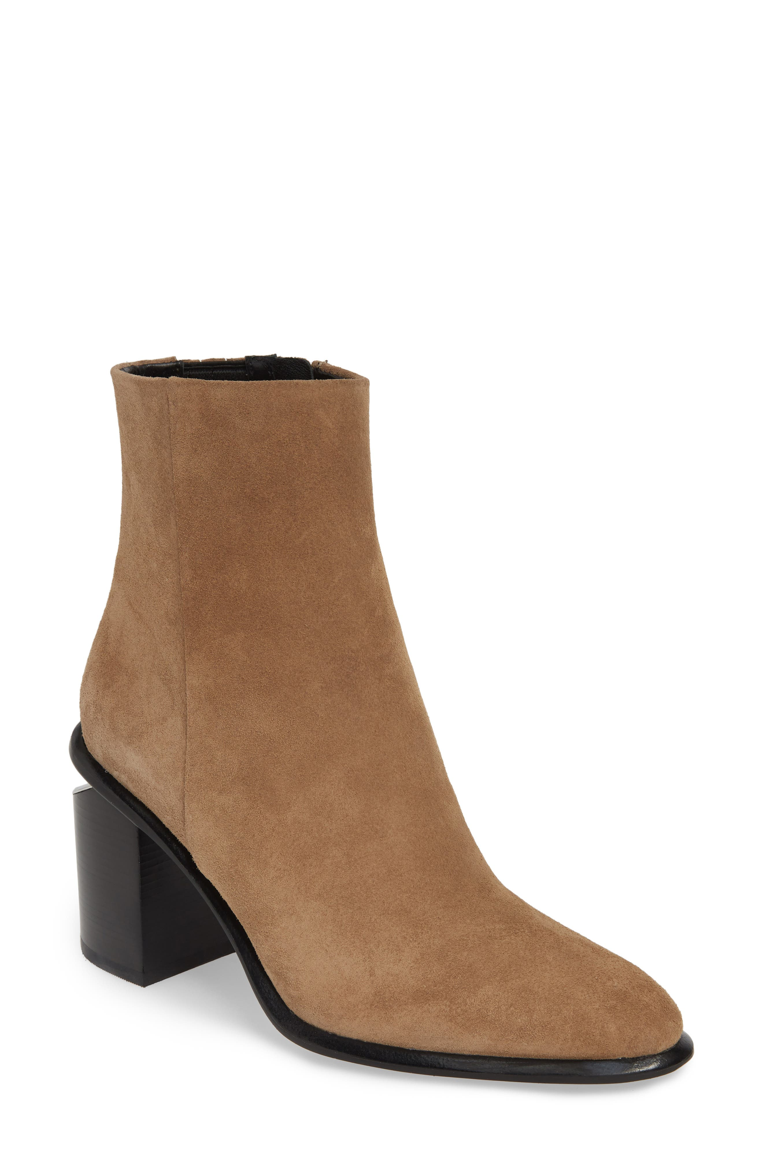 ALEXANDER WANG, Anna Mid Bootie, Main thumbnail 1, color, SAND SUEDE