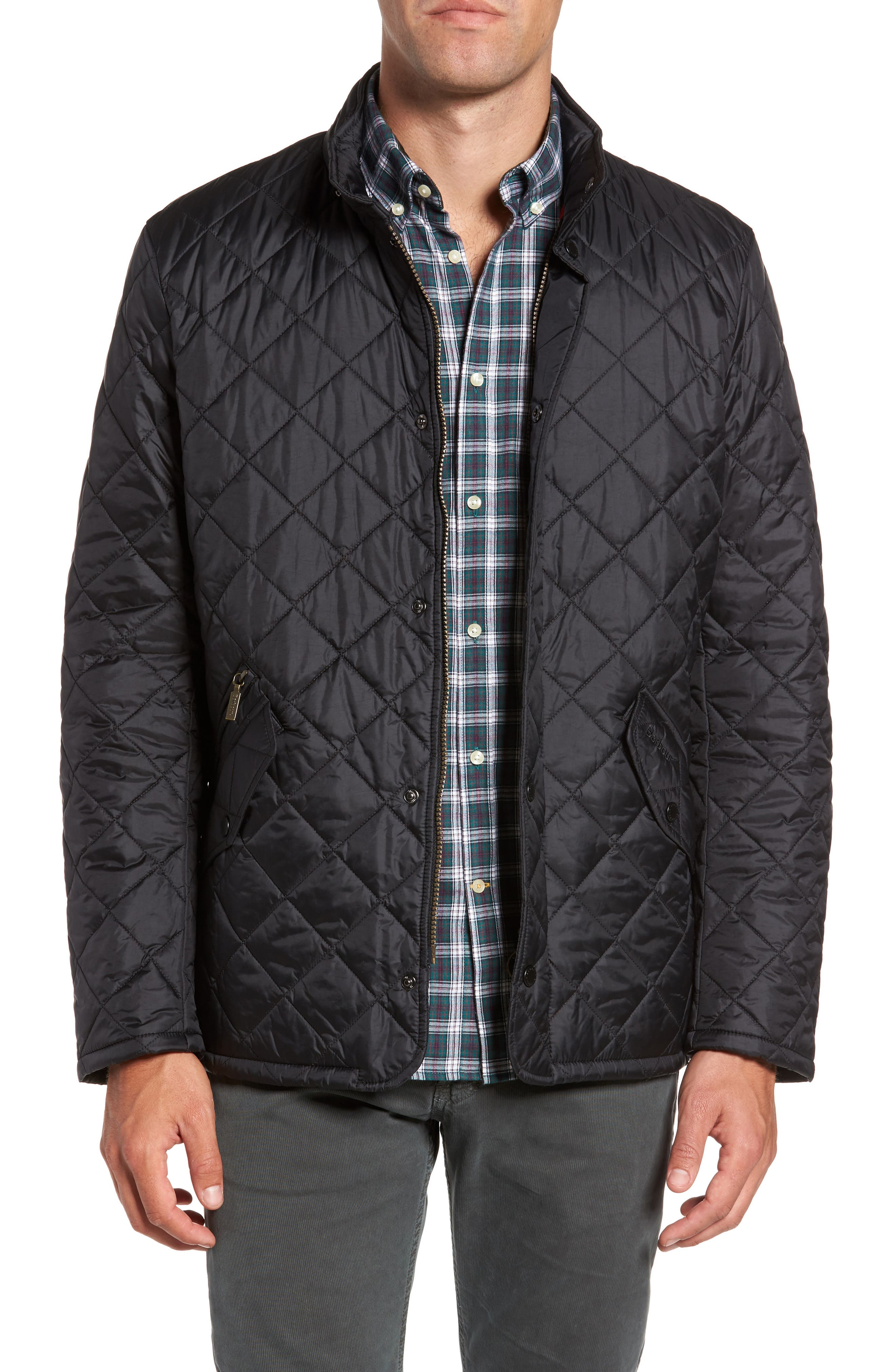 BARBOUR, Flyweight Chelsea Quilted Jacket, Main thumbnail 1, color, BLACK
