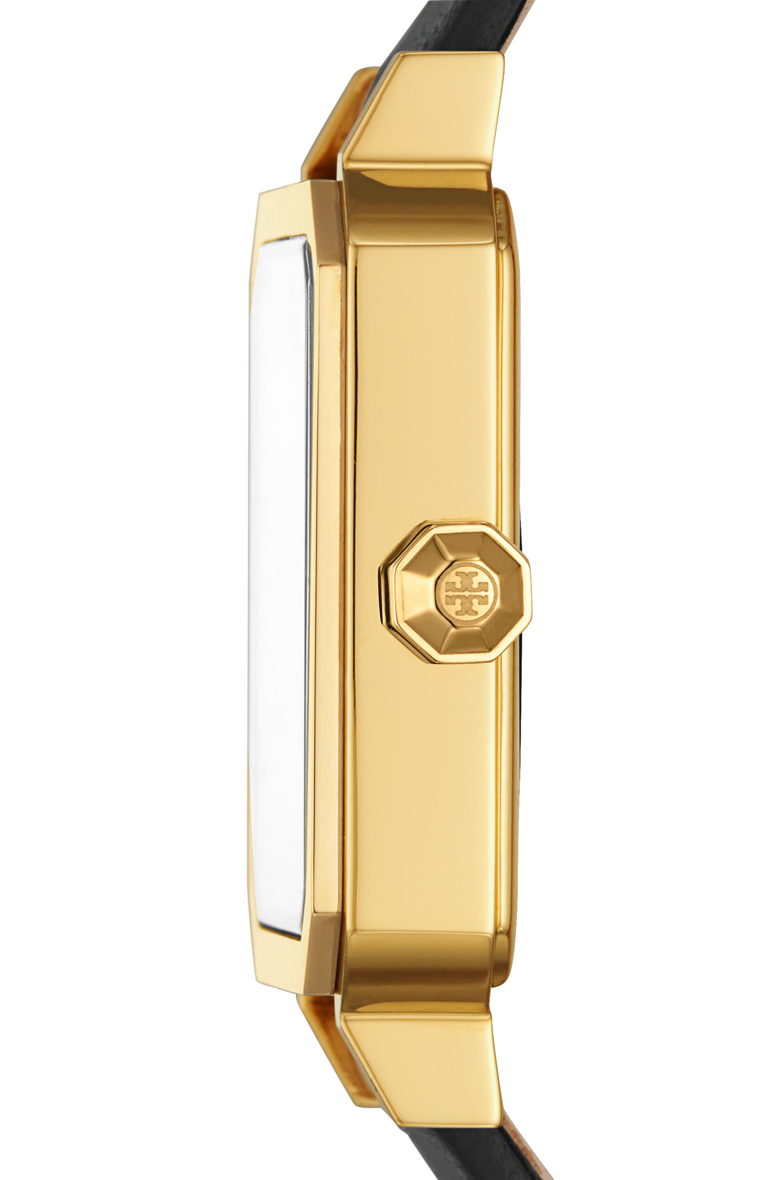 TORY BURCH, Robinson Leather Strap Watch, 27mm x 29mm, Alternate thumbnail 2, color, BLACK/ WHITE/ GOLD