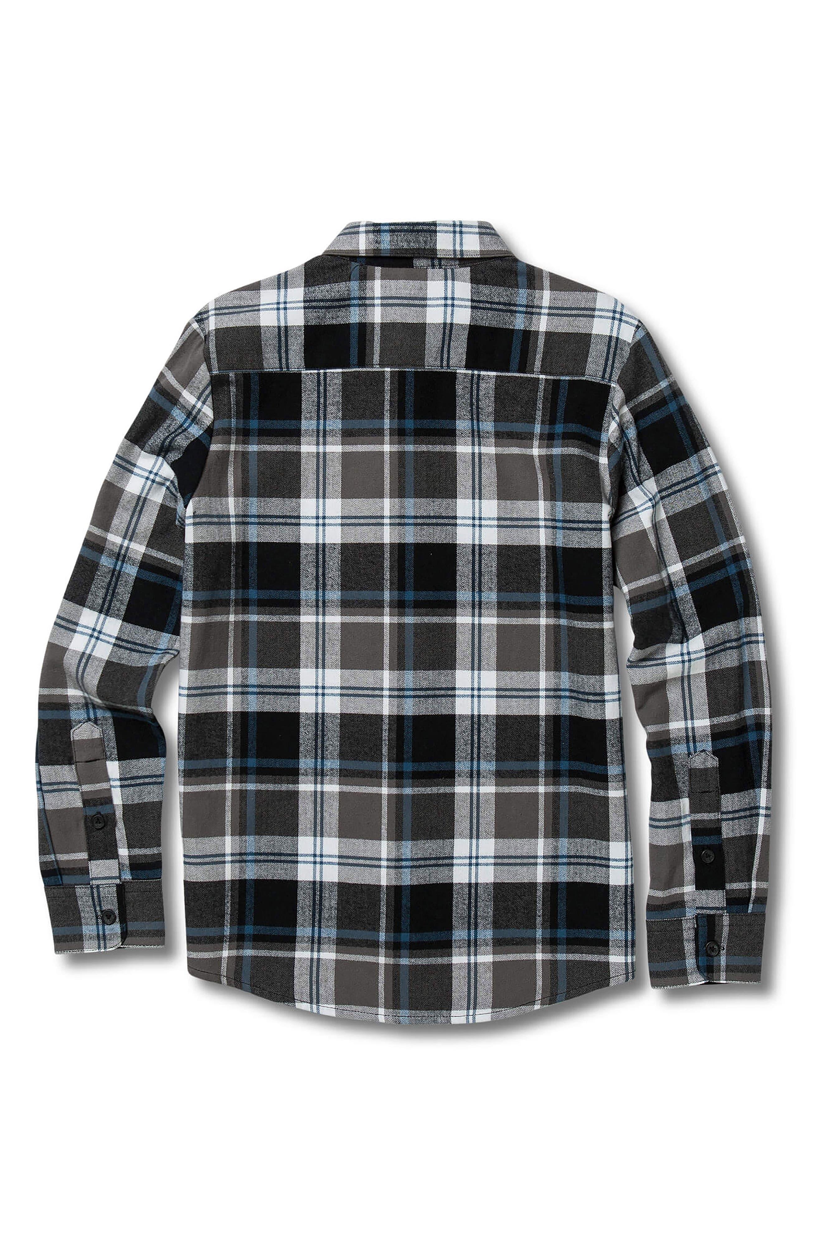 VOLCOM, Caden Plaid Flannel Shirt, Alternate thumbnail 2, color, PEWTER