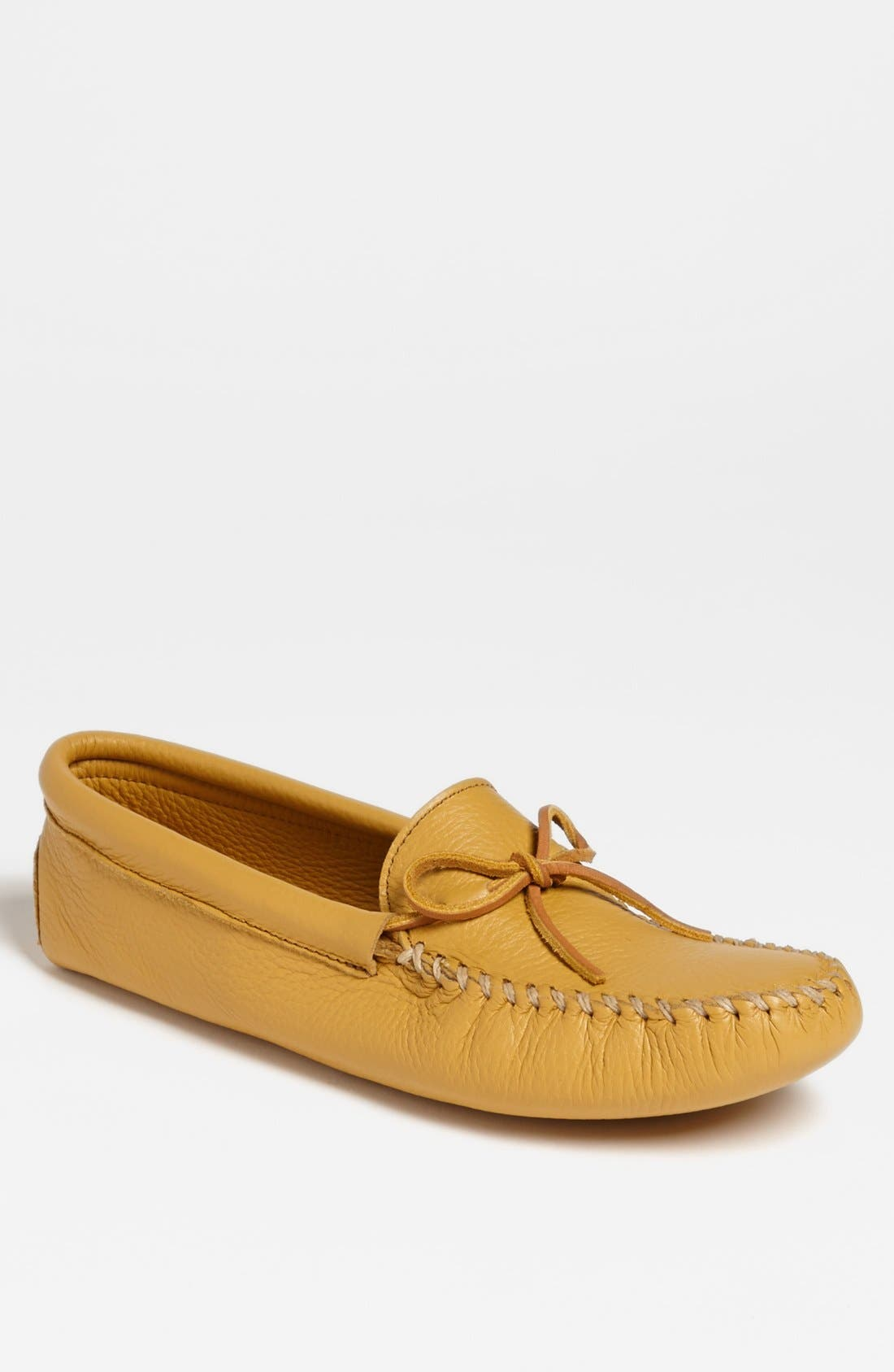 MINNETONKA, Deerskin Moccasin, Main thumbnail 1, color, NATURAL DEERSKIN