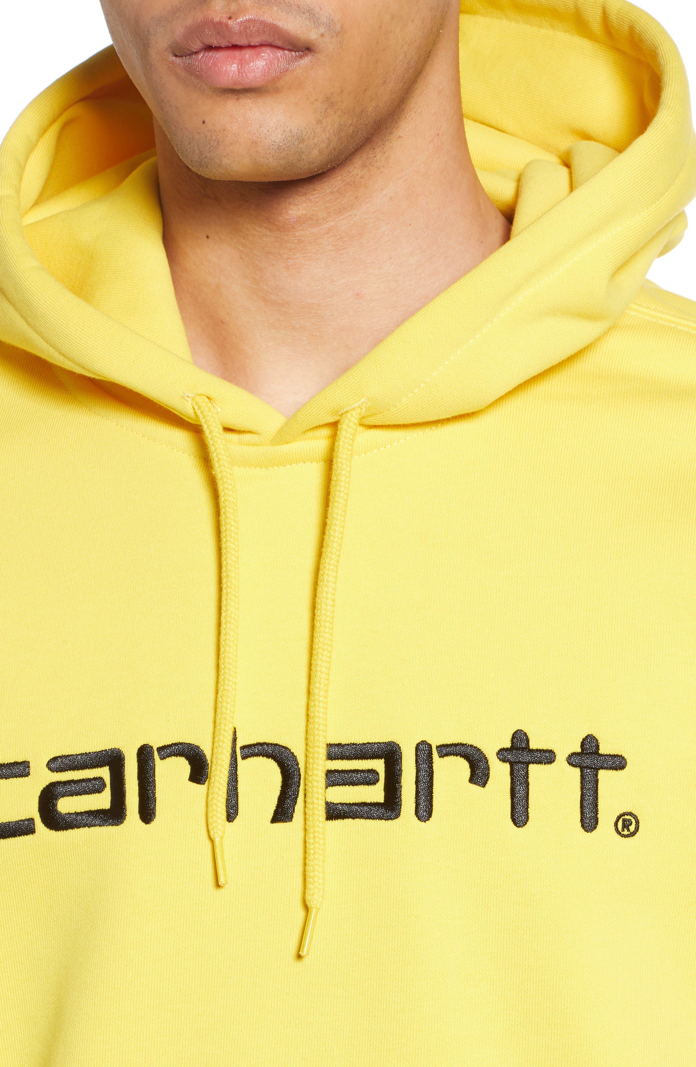CARHARTT WORK IN PROGRESS, Hooded Sweatshirt, Alternate thumbnail 4, color, PRIMULA / BLACK