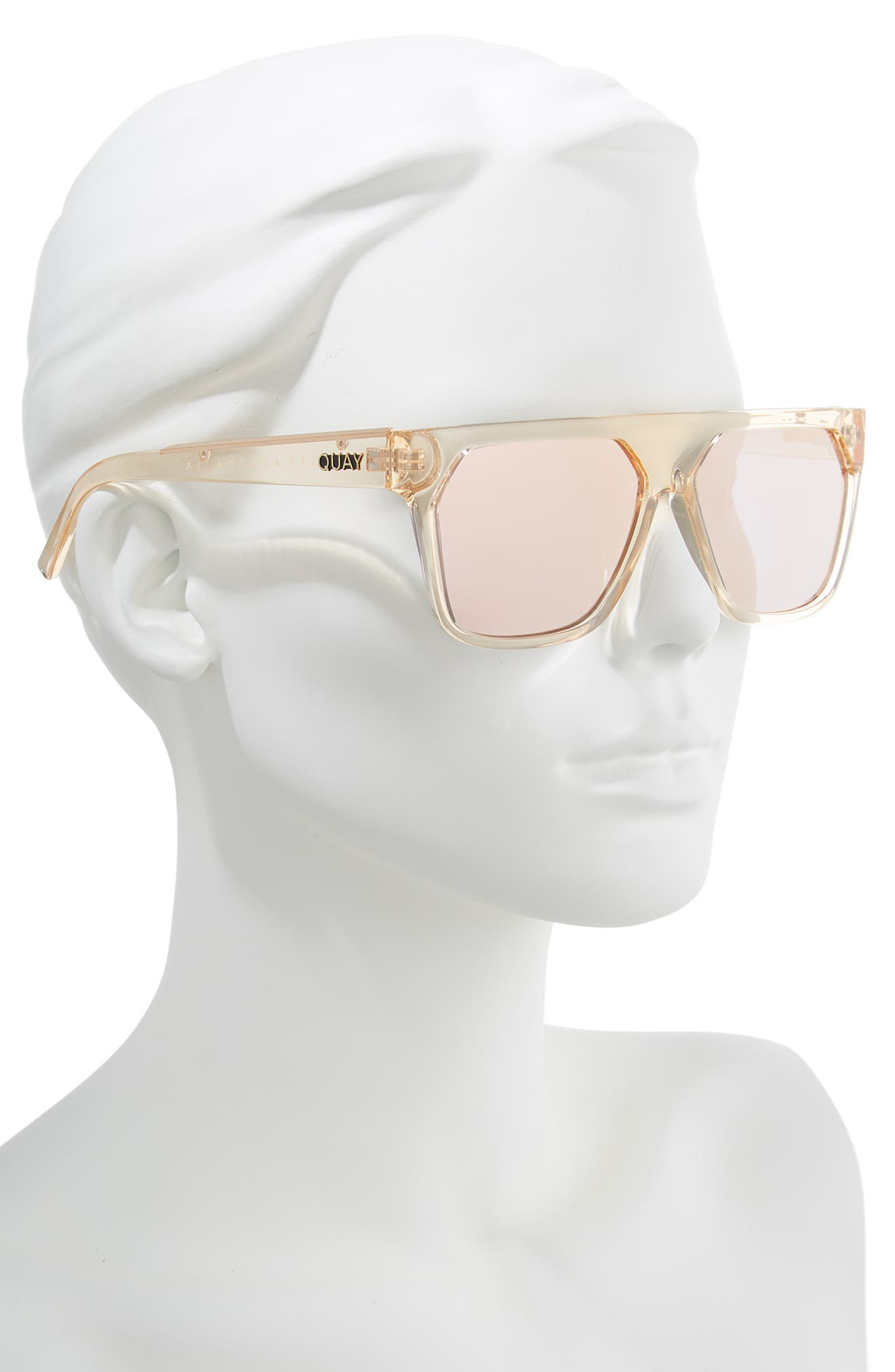 QUAY AUSTRALIA, x Jaclyn Hill Very Busy 58mm Shield Sunglasses, Alternate thumbnail 3, color, CHAMPAGNE / ROSE