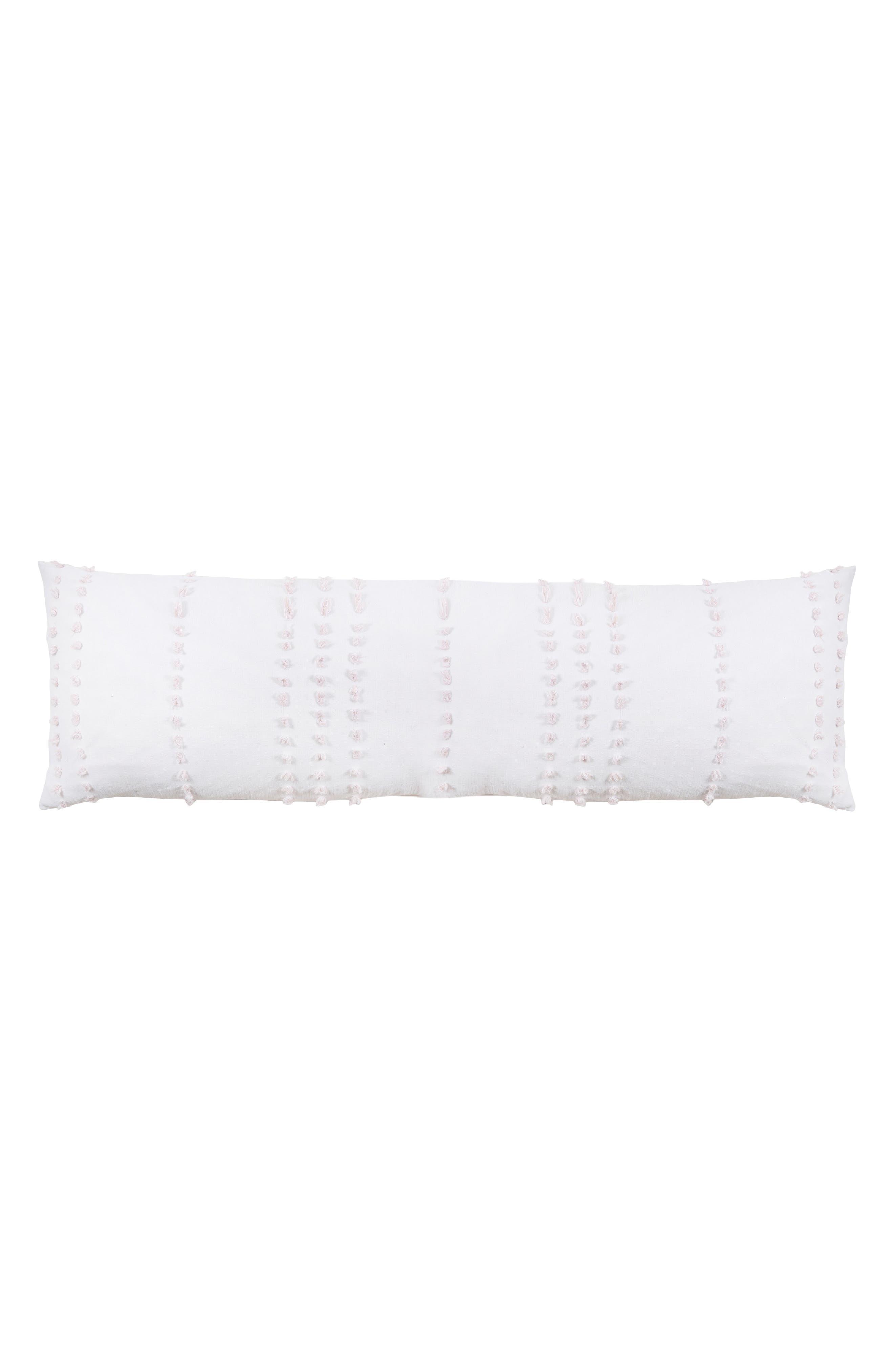 POM POM AT HOME, Poppy Body Pillow, Main thumbnail 1, color, WHITE/ BLUSH
