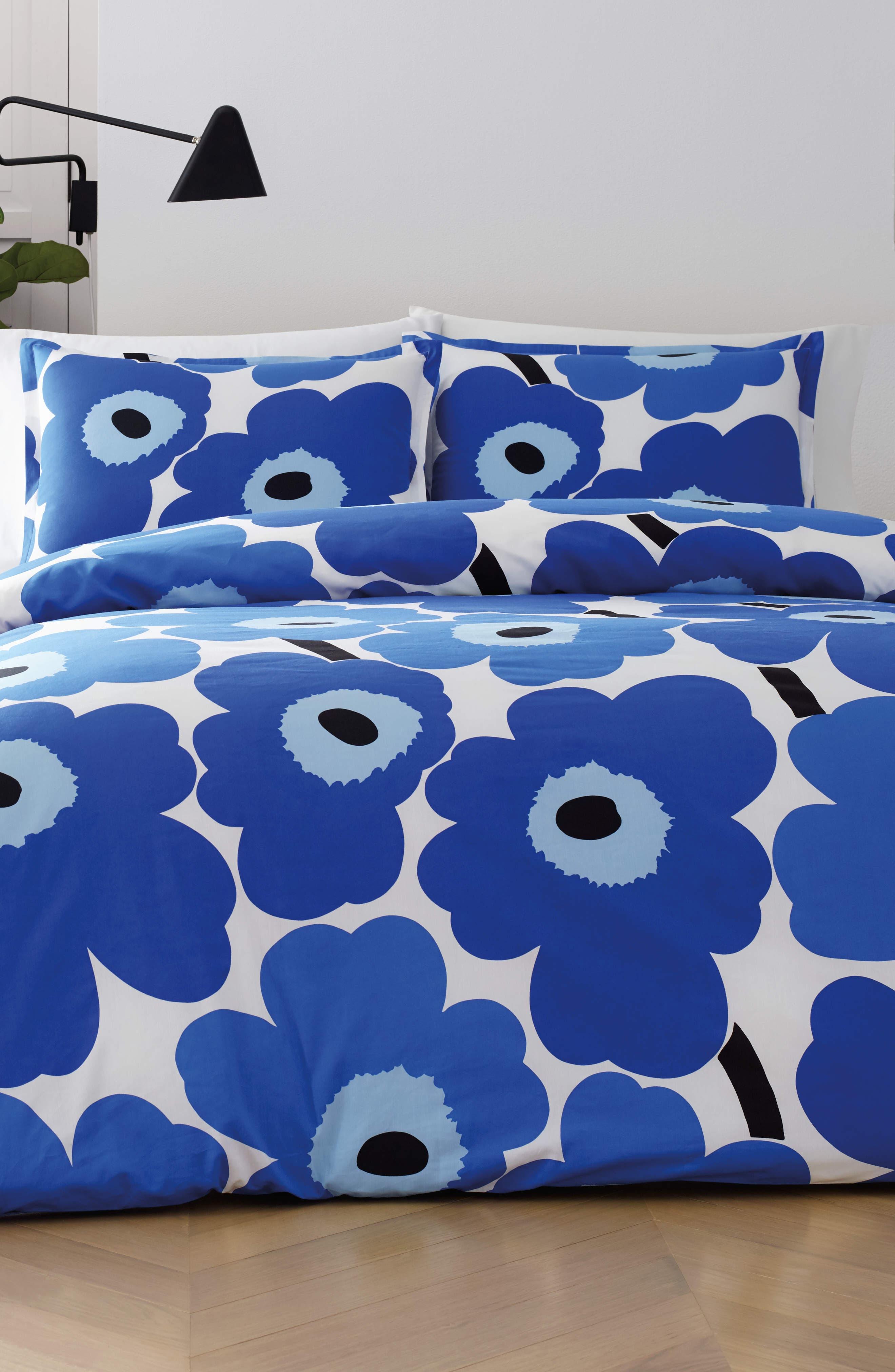 MARIMEKKO, Unikko Duvet Cover & Sham Set, Main thumbnail 1, color, BLUE