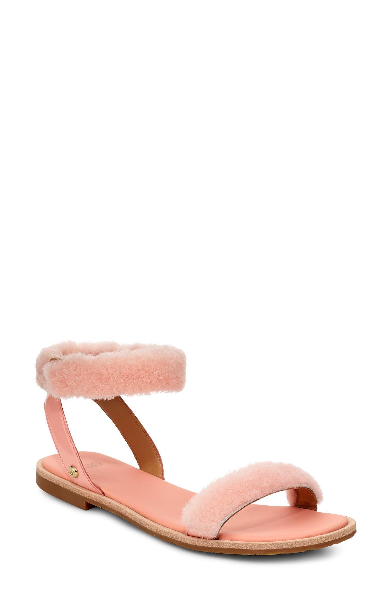 ebfc551cd405 Ugg Fluff Springs Genuine Shearling Sandal- Pink